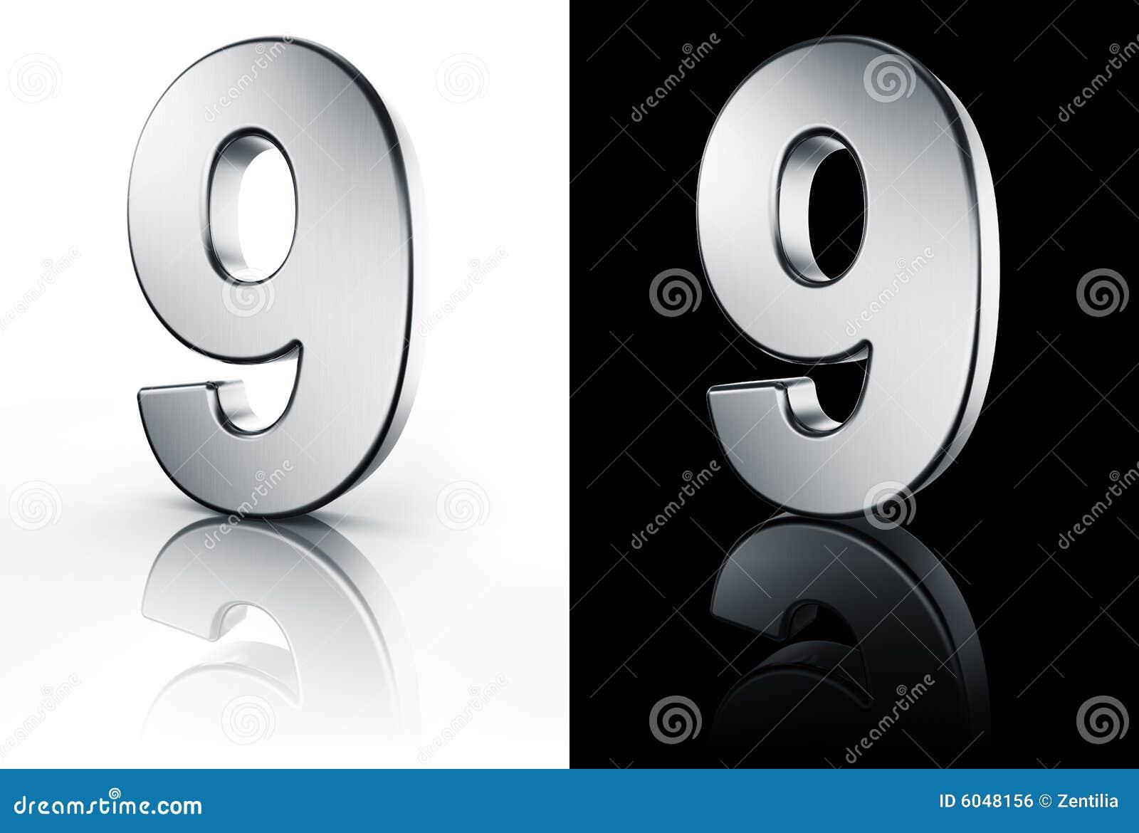 El n mero 9 en el suelo blanco y negro imagen de archivo for Suelo 3d blanco