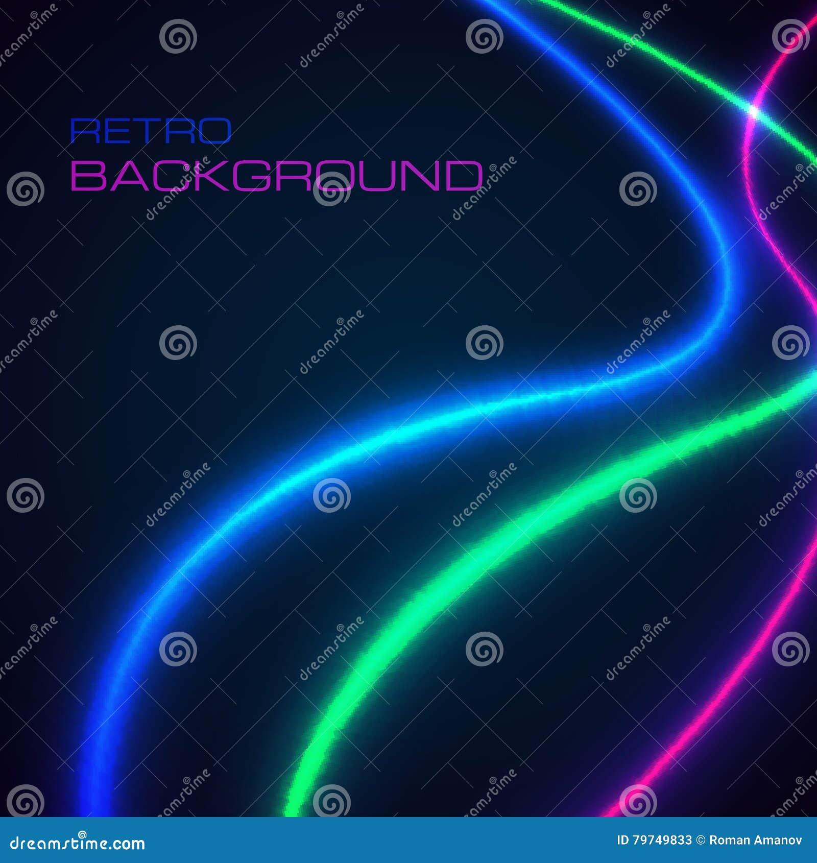 El neón brillante alinea el fondo con estilo retro Ilustración del vector