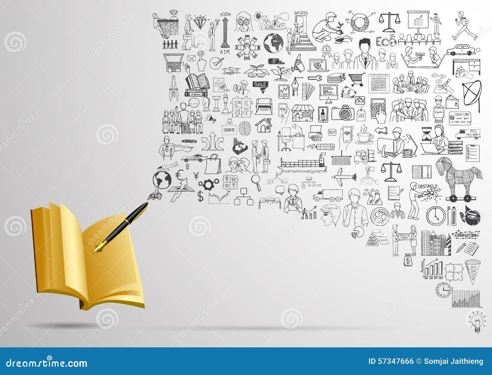 El Negocio Garabatea Con La Escritura De La Pluma En El Cuaderno ...