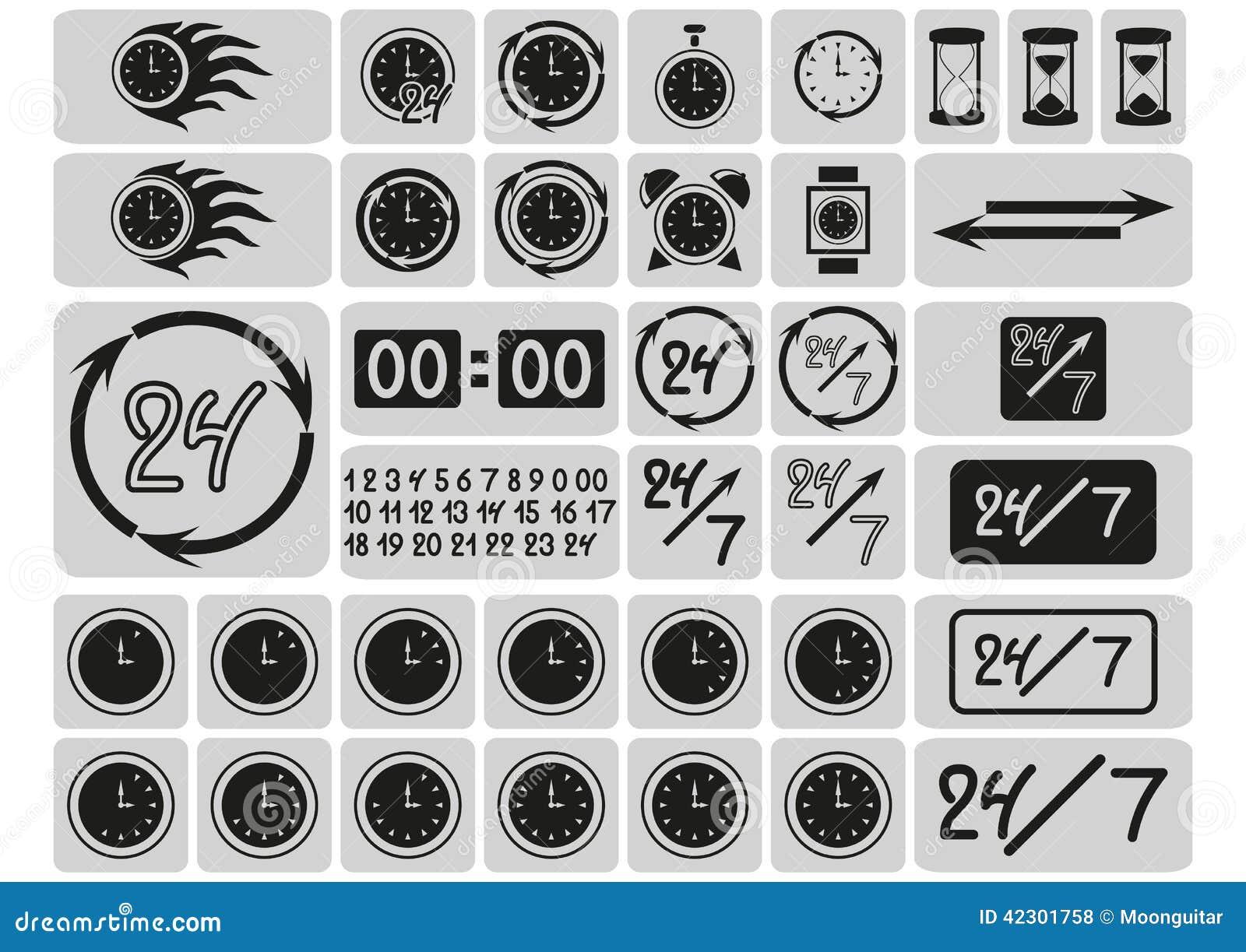 El negro registra los iconos en los cuadrados grises, flechas, 24 horas al día y 7 días a la semana, los dígitos dibujados mano,