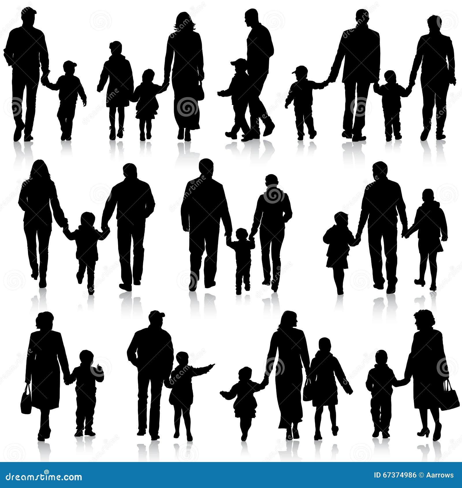 El negro siluetea a la familia en el fondo blanco - Familias en blanco y negro ...