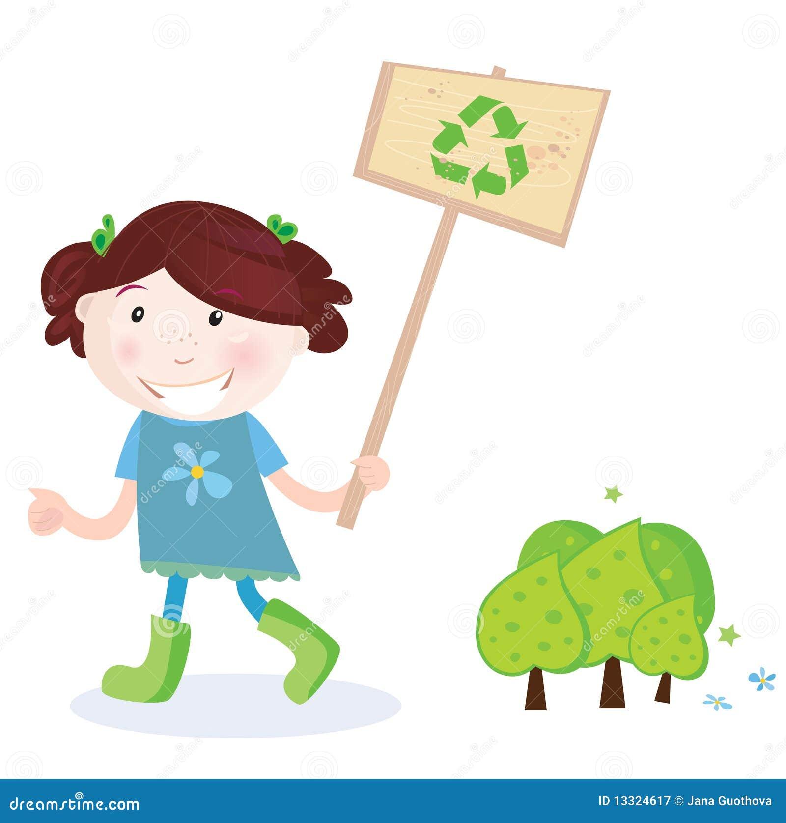 El niño con recicla la muestra