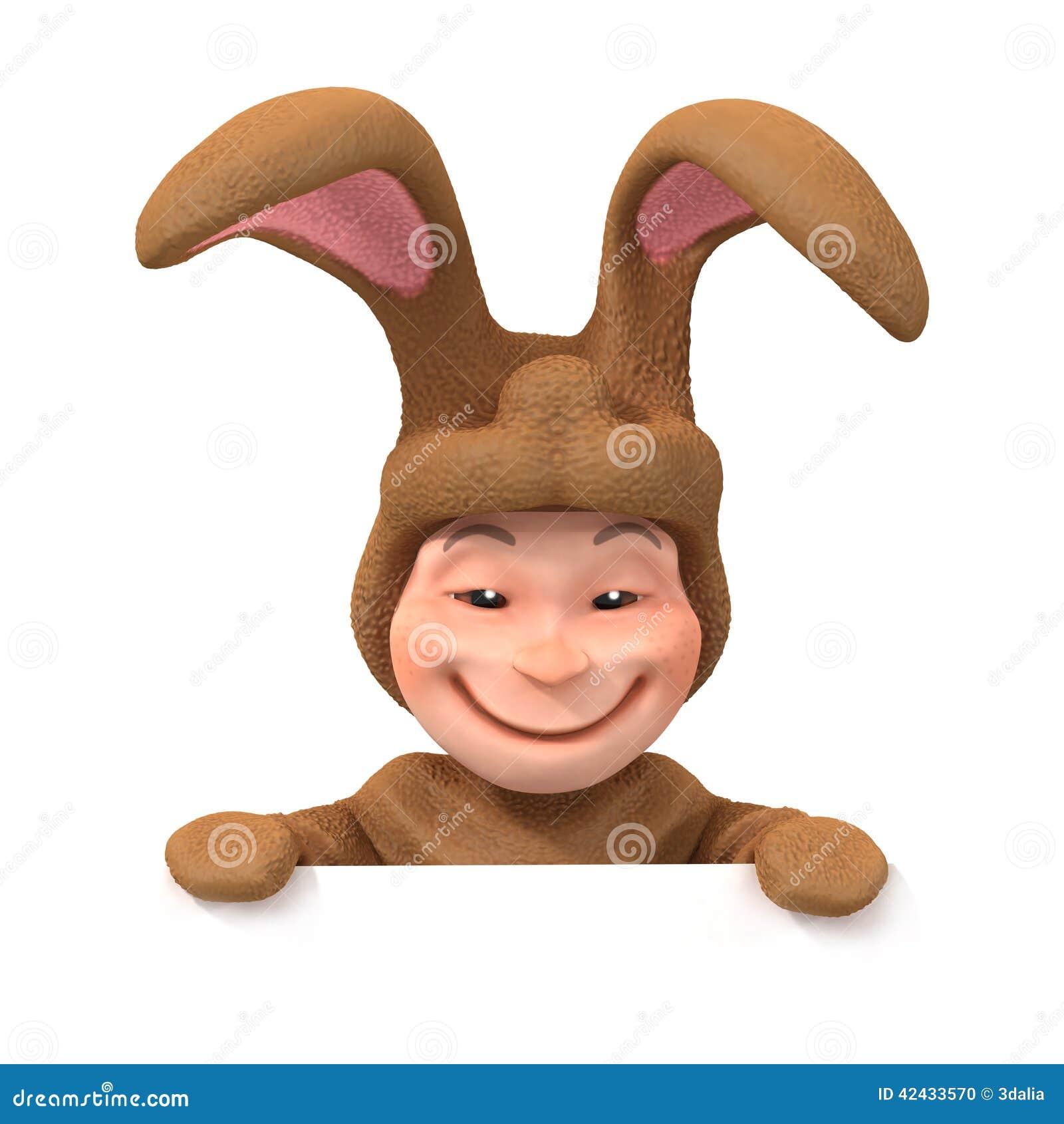 El niño 3d en traje del conejito mira sobre espacio en blanco
