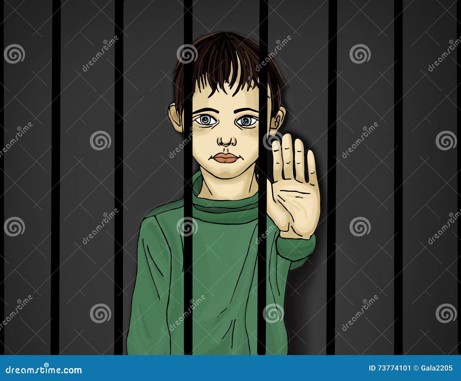 El niño en la prisión Niños de criminales Detrás de barras