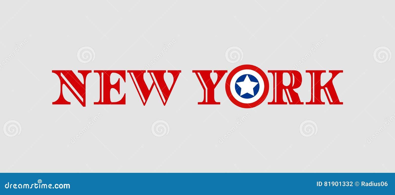 El Nombre De New York City Con La Bandera Colorea La Letra Diseñada ...