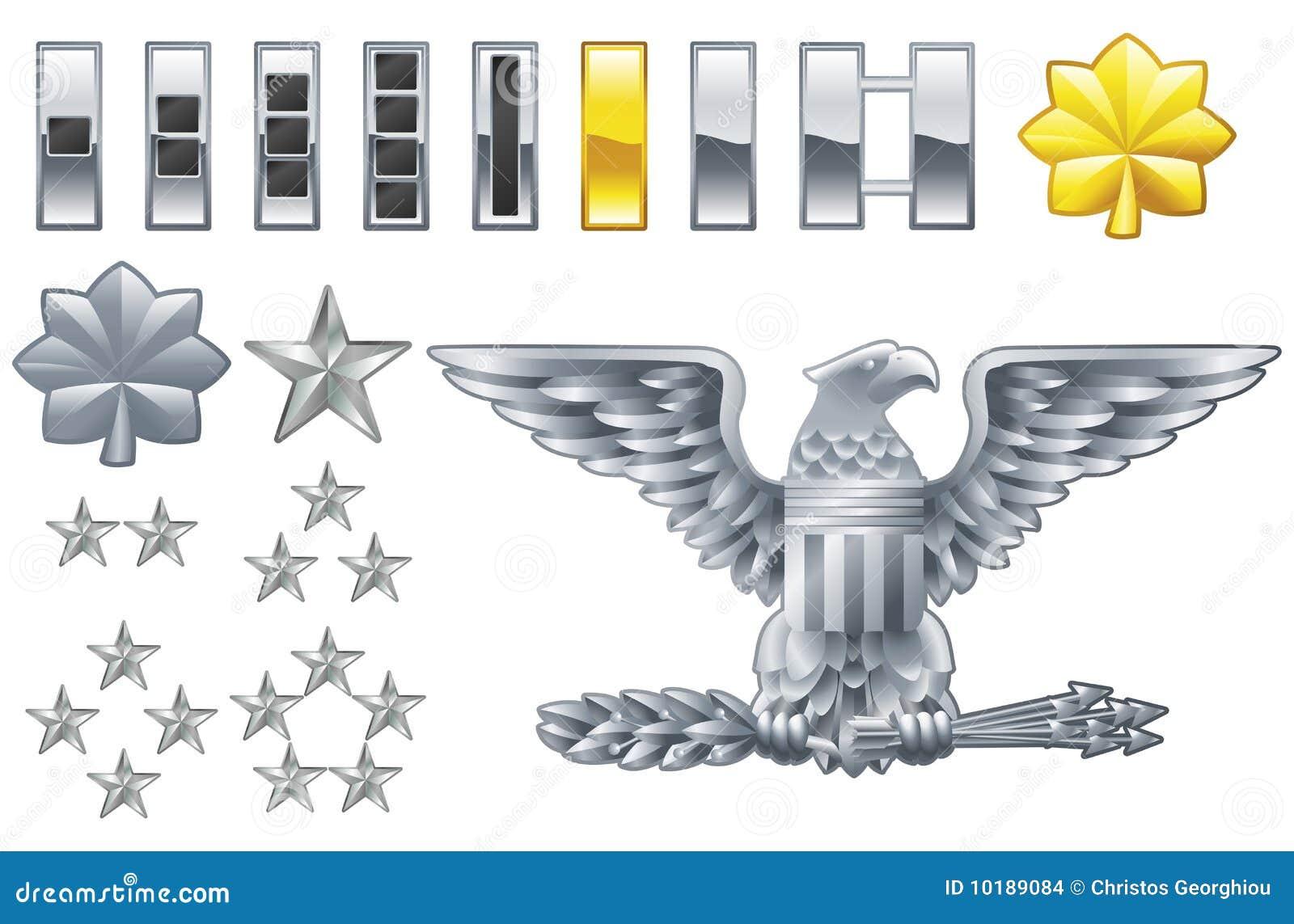 El oficial de ejército americano alinea iconos de las insignias