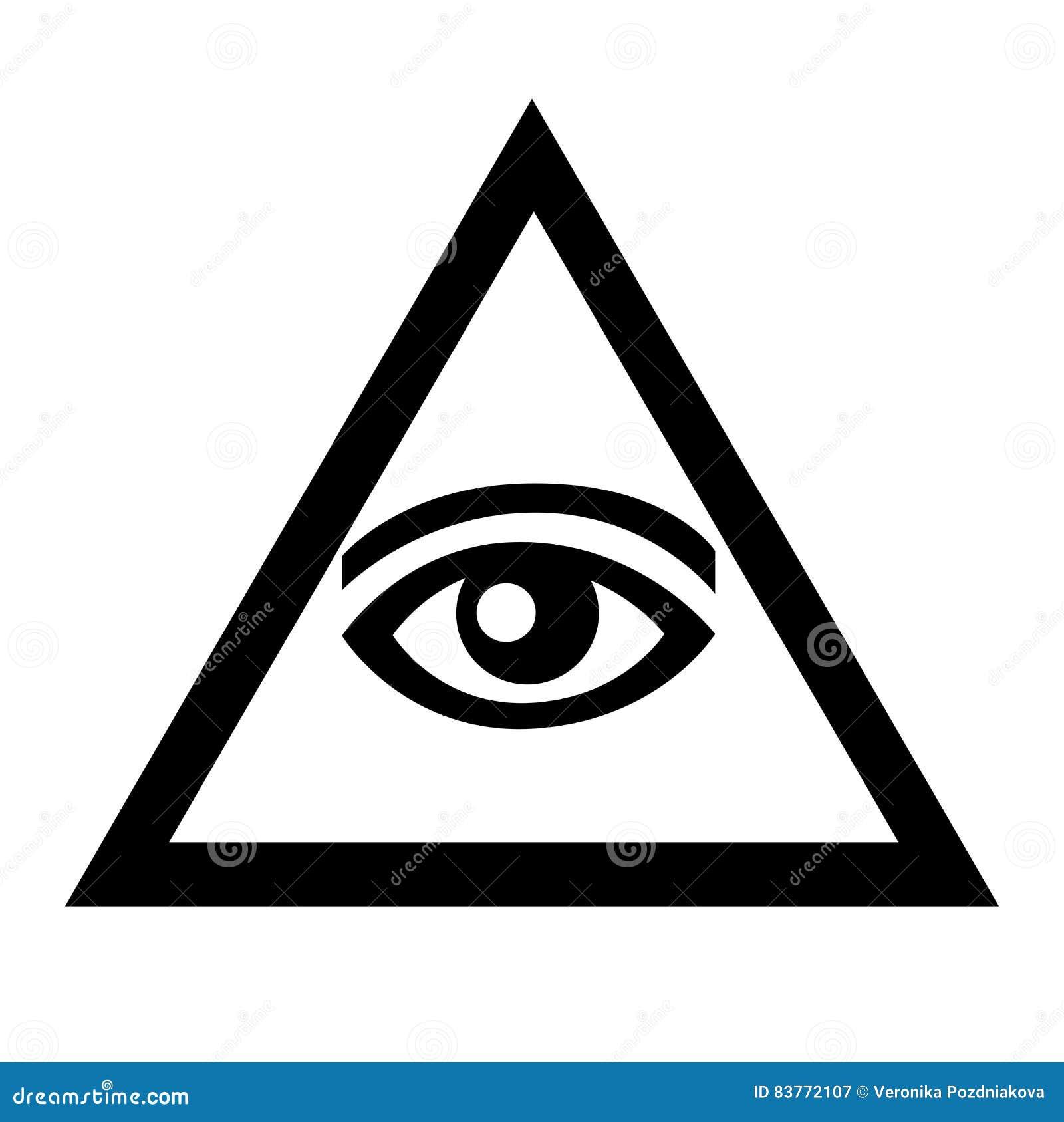 El Ojo En El Triángulo Muestra Blanco Y Negro Con Símbolos Del