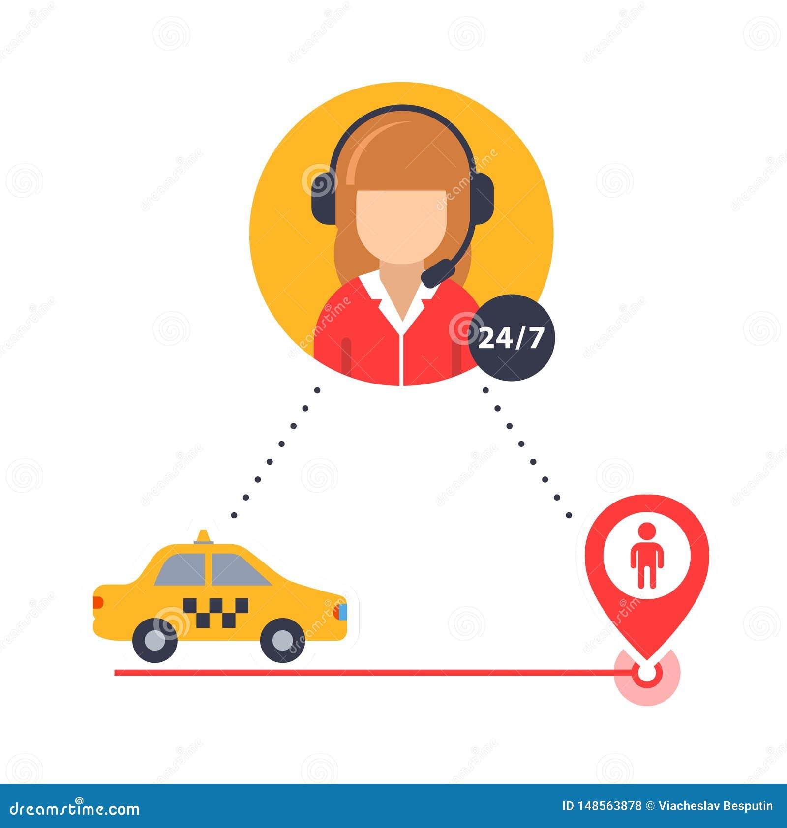 El operador del taxi ayuda a encontrar un taxista del cliente icono del vector para el negocio