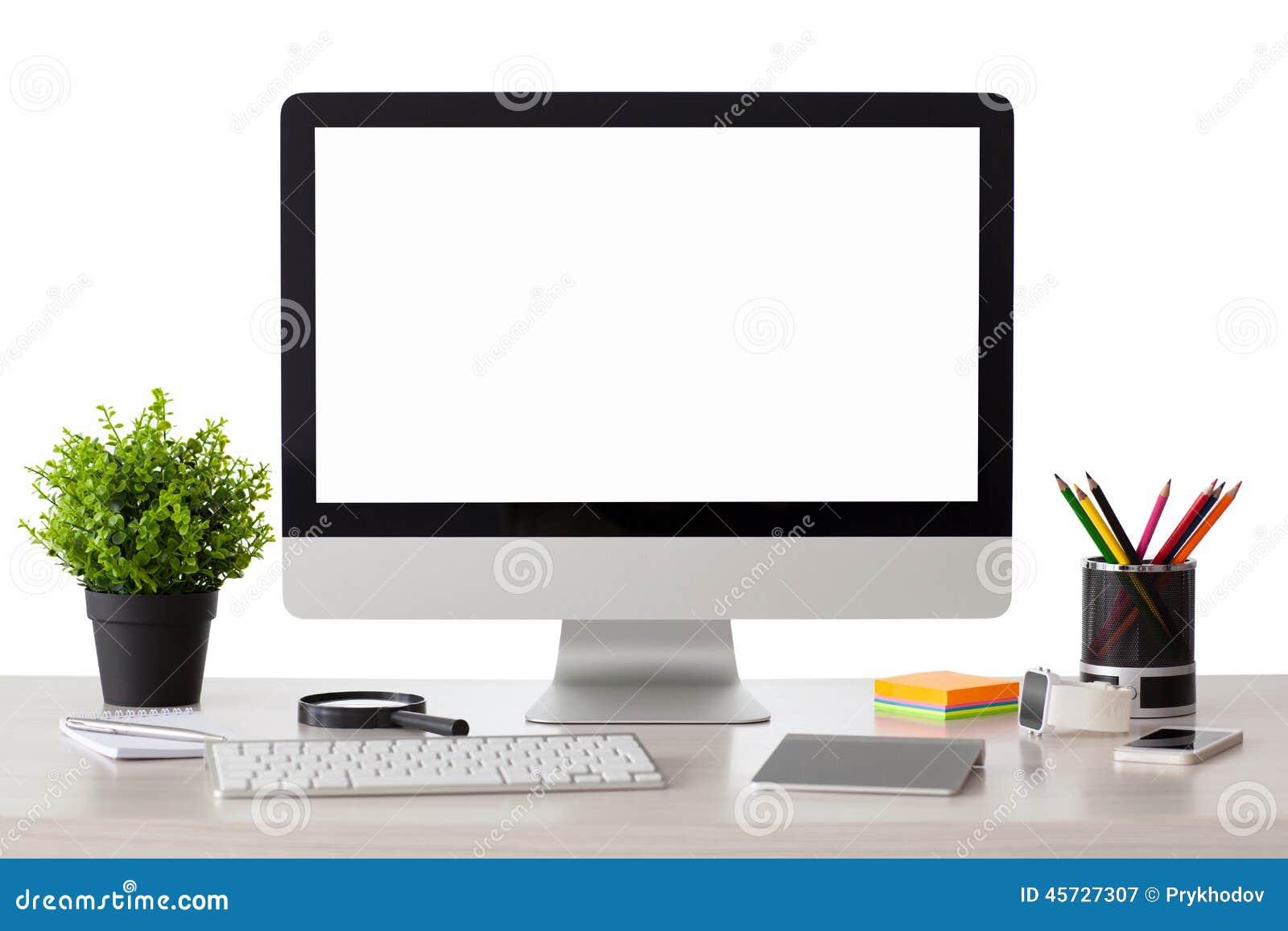 El ordenador con la pantalla aislada se coloca en la tabla