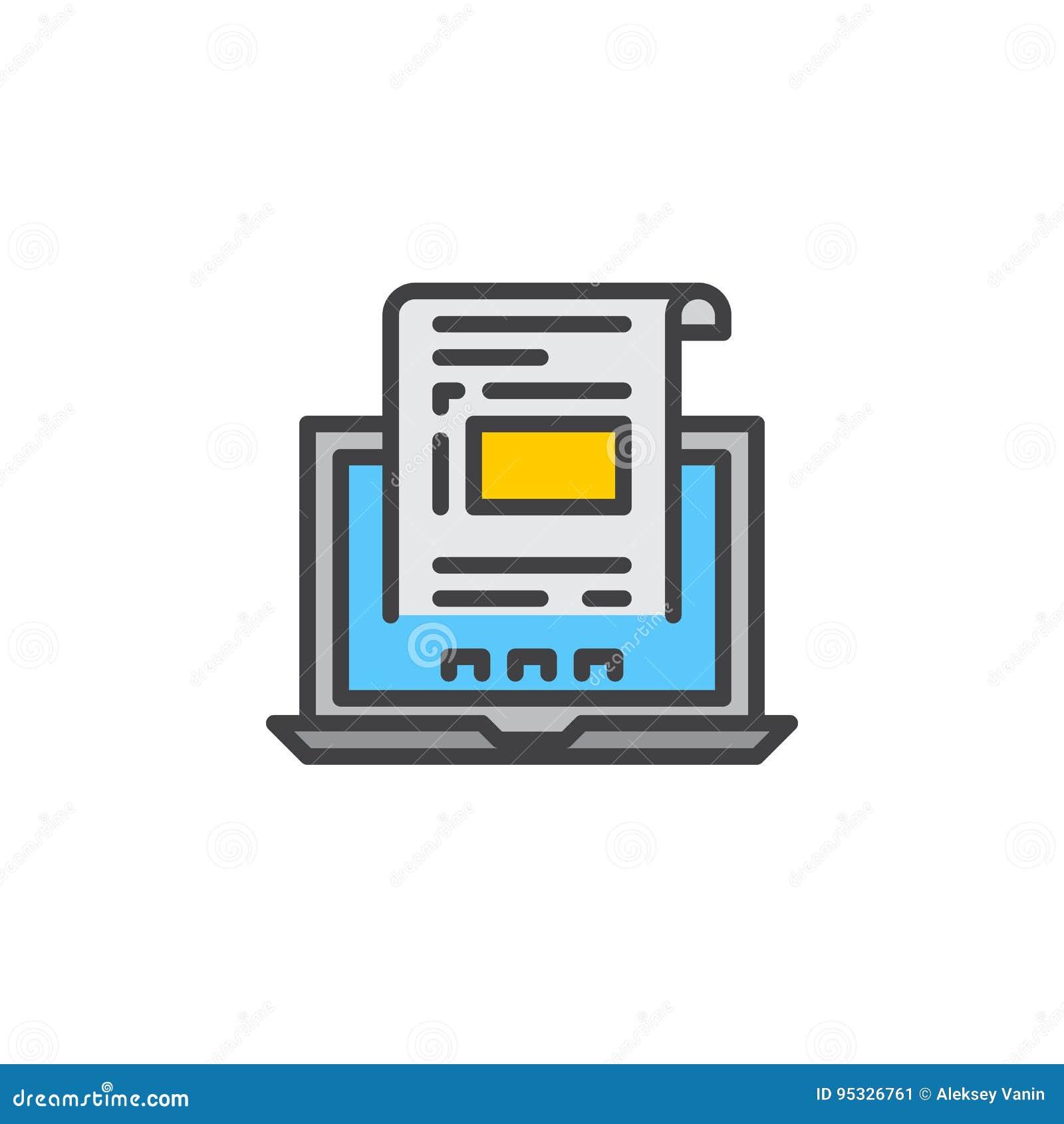 El ordenador portátil con el documento, línea icono de la factura, llenó la muestra del vector del esquema, pictograma colorido l
