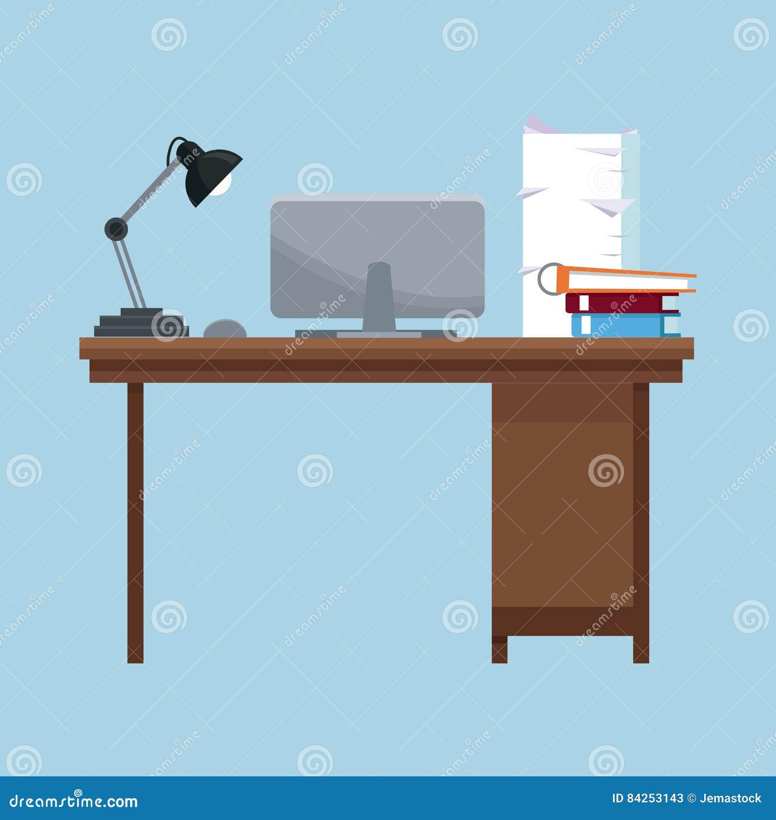 El ordenador portátil de la lámpara de escritorio del lugar de trabajo reserva la pila de los documentos