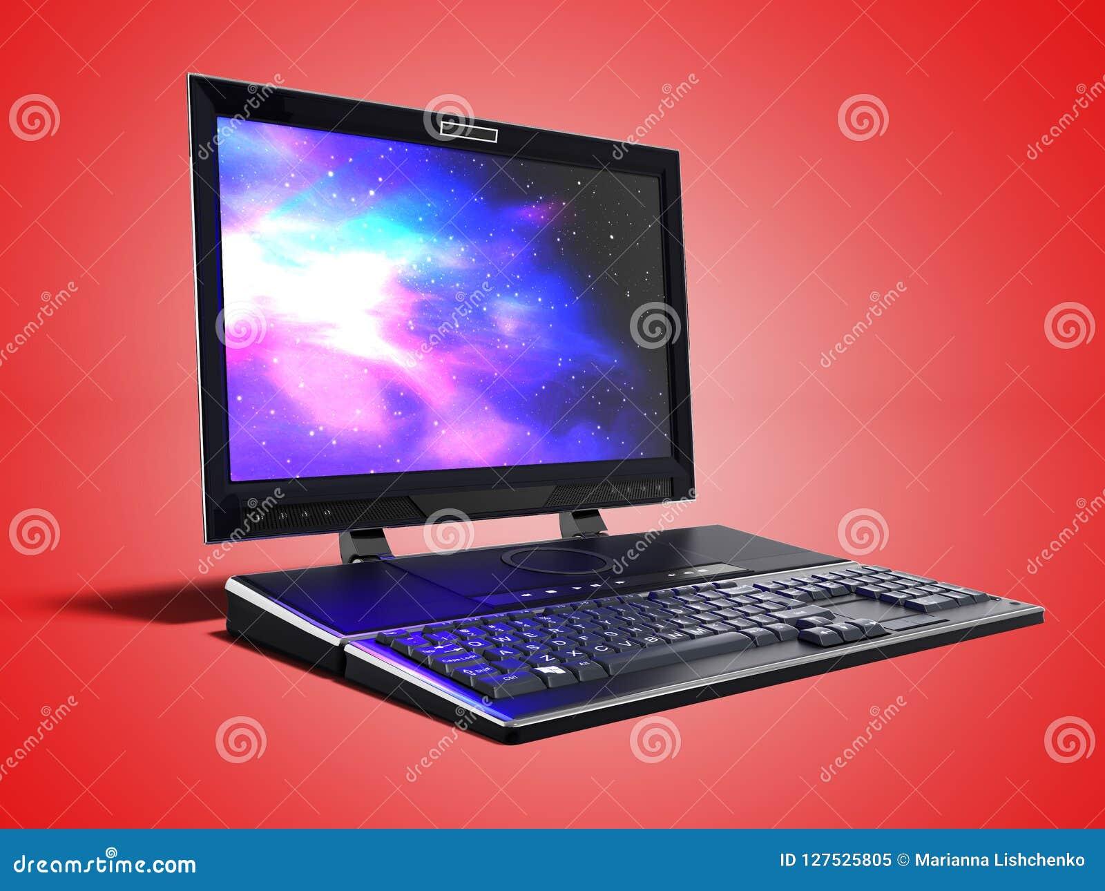 El ordenador portátil moderno de las multimedias para el trabajo 3d rinde en los wi rojos del fondo