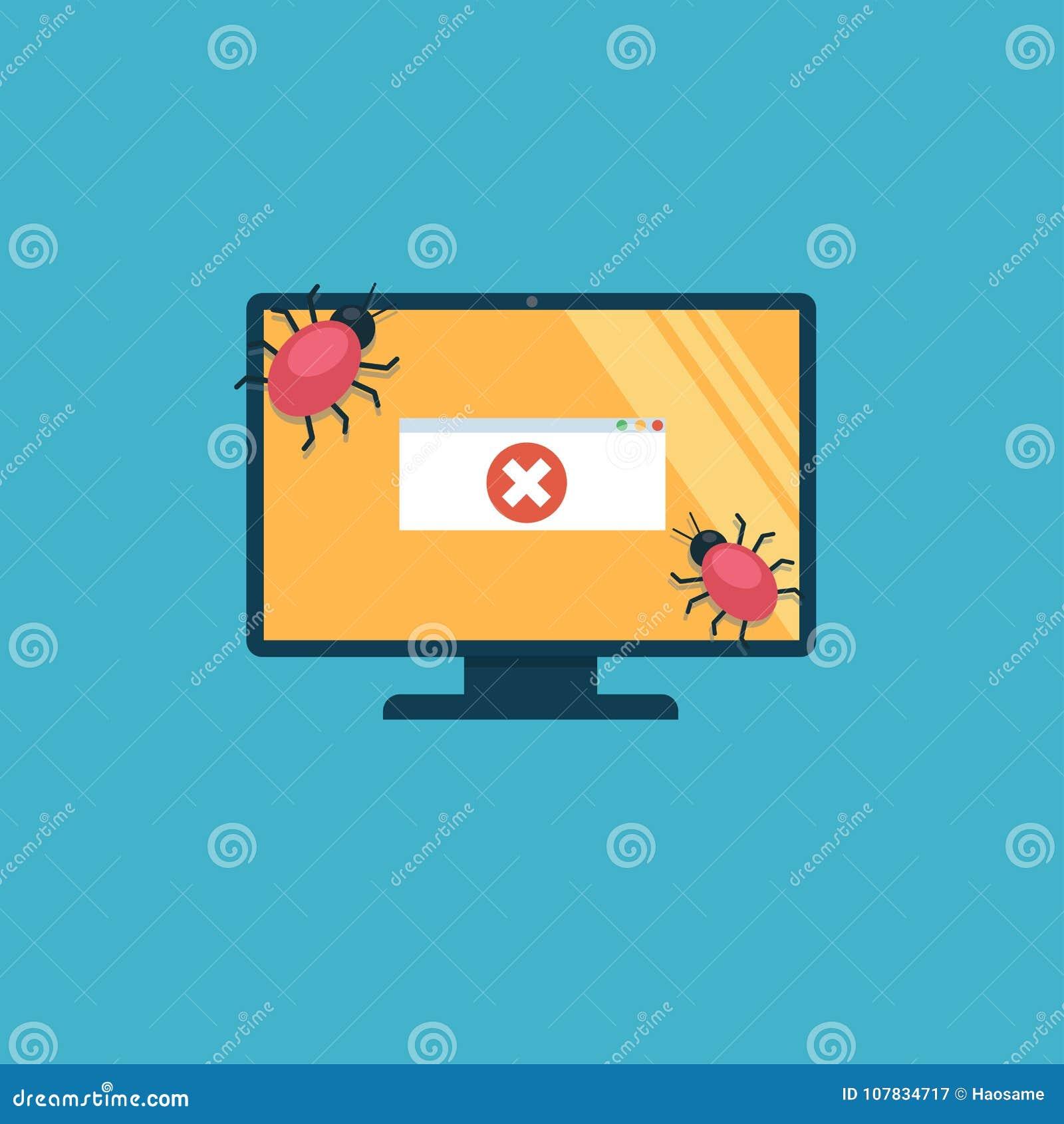 El ordenador se infecta con los virus En la pantalla hay un mensaje de error
