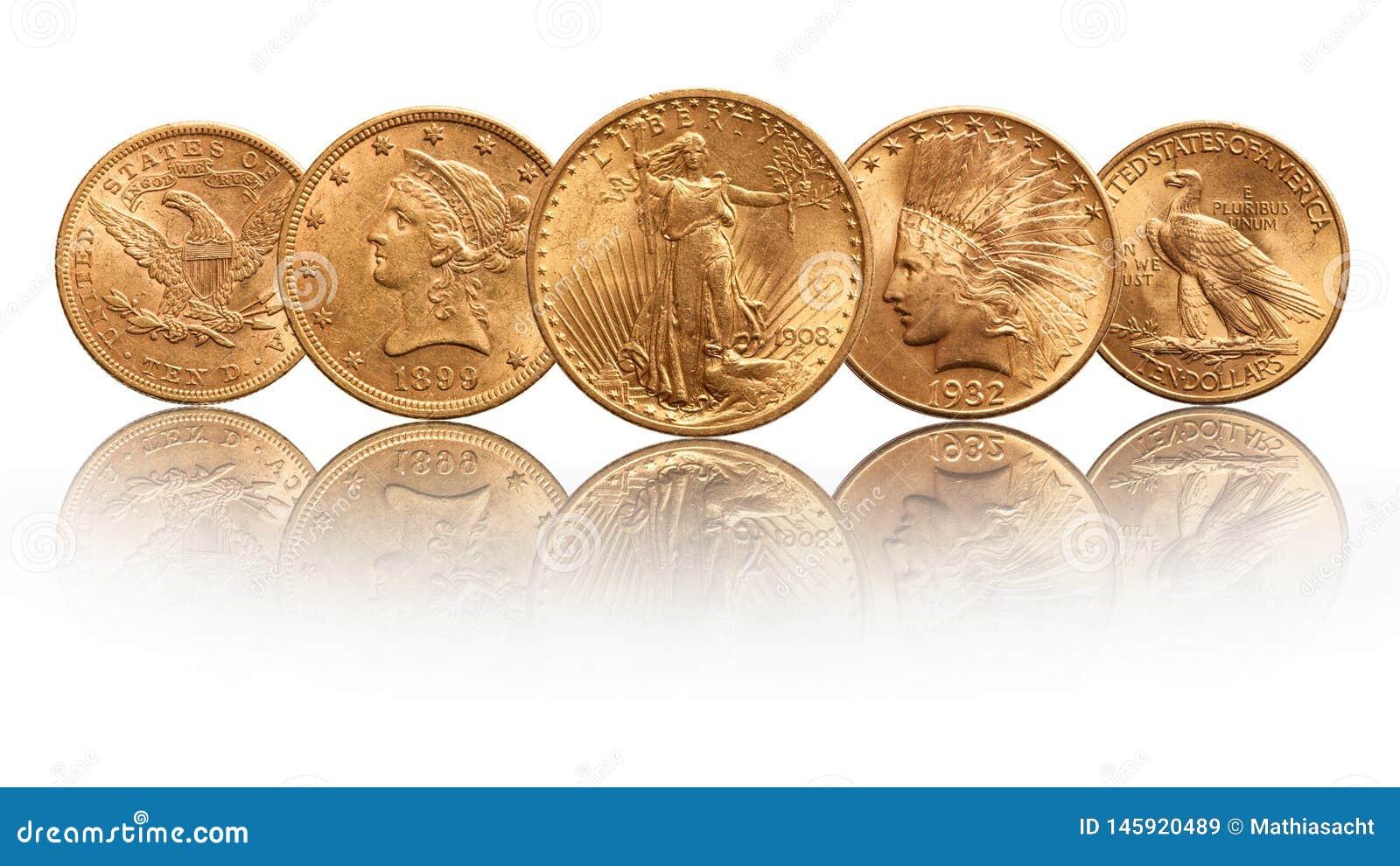 El oro de los E.E.U.U. acuña la cabeza india del águila doble de veinte dólares, aislada en el fondo blanco