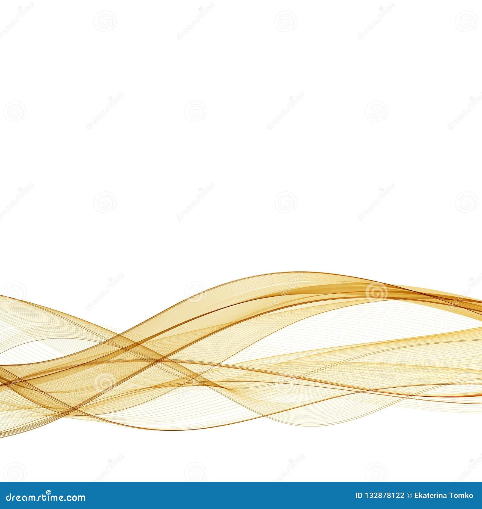 El oro del extracto ondulado en el fondo blanco con las curvas lisas del color de oro agita las líneas para el fondo de lujo EPS