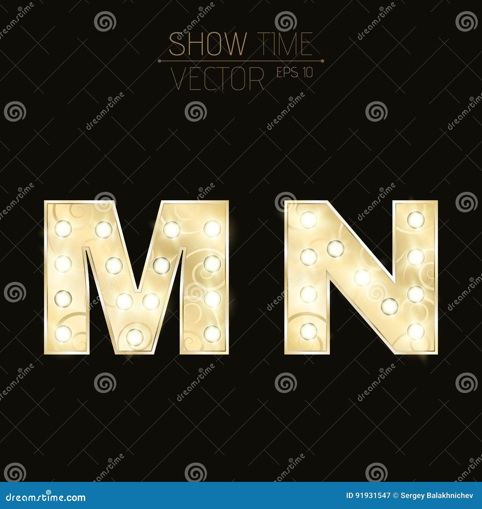 El oro letra M y N con bombillas chispeantes y un modelo Alfabeto para las presentaciones y las demostraciones Ilustración realis