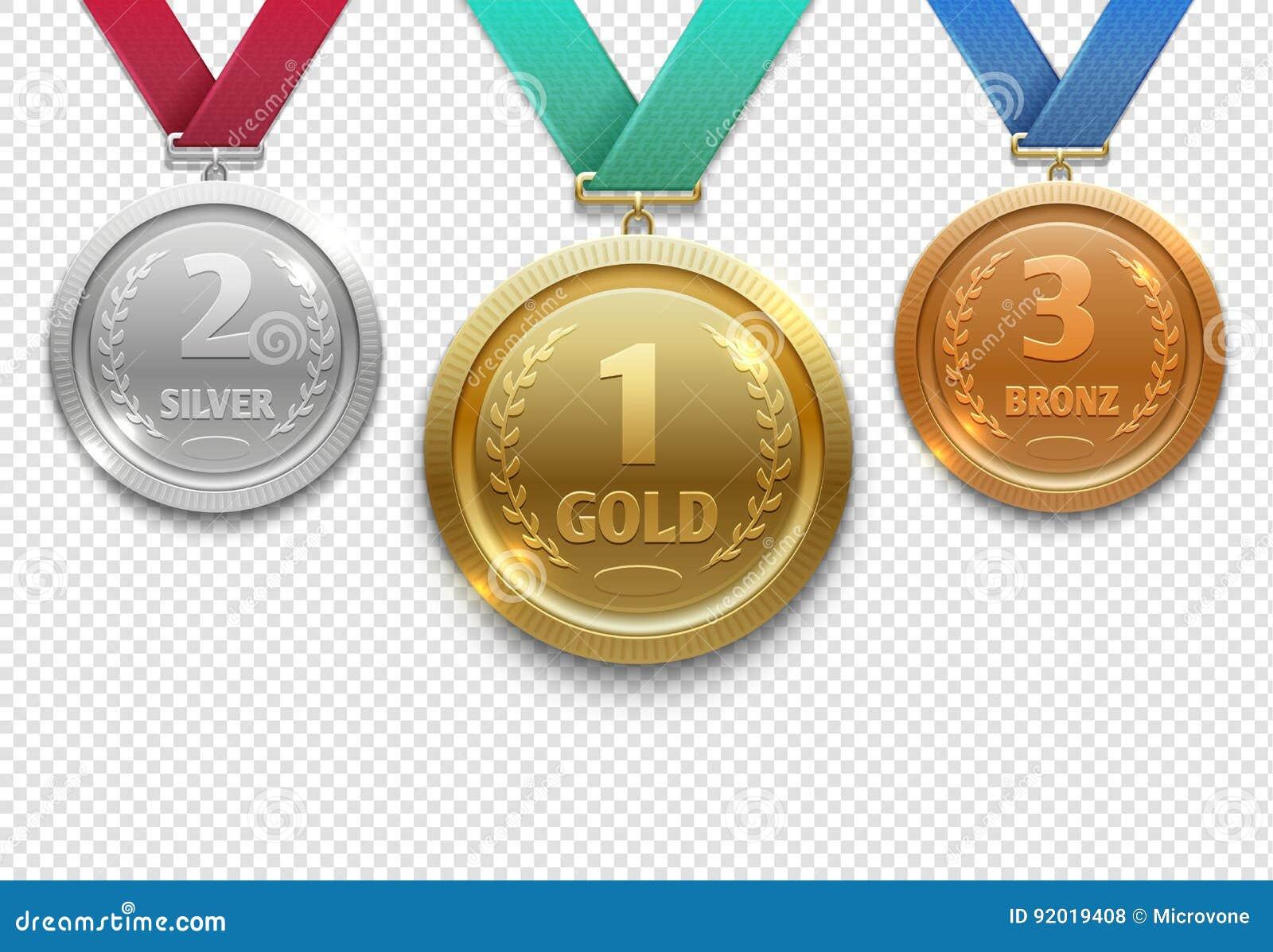El oro olímpico, la plata y el bronce conceden las medallas, sistema premiado del vector del honor del ganador