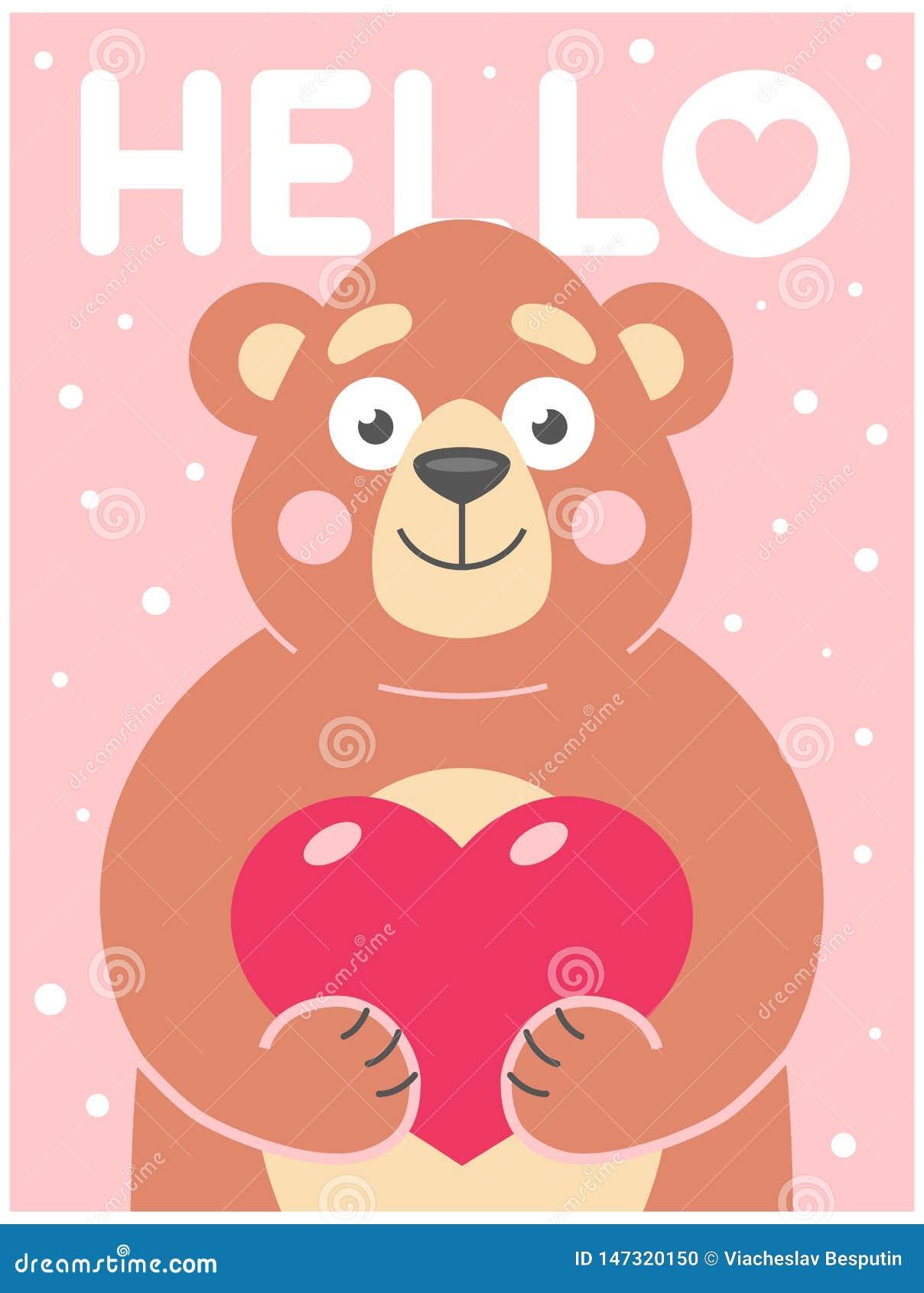 El oso lindo lleva a cabo en sus patas un corazón en un fondo rosado con los copos de nieve