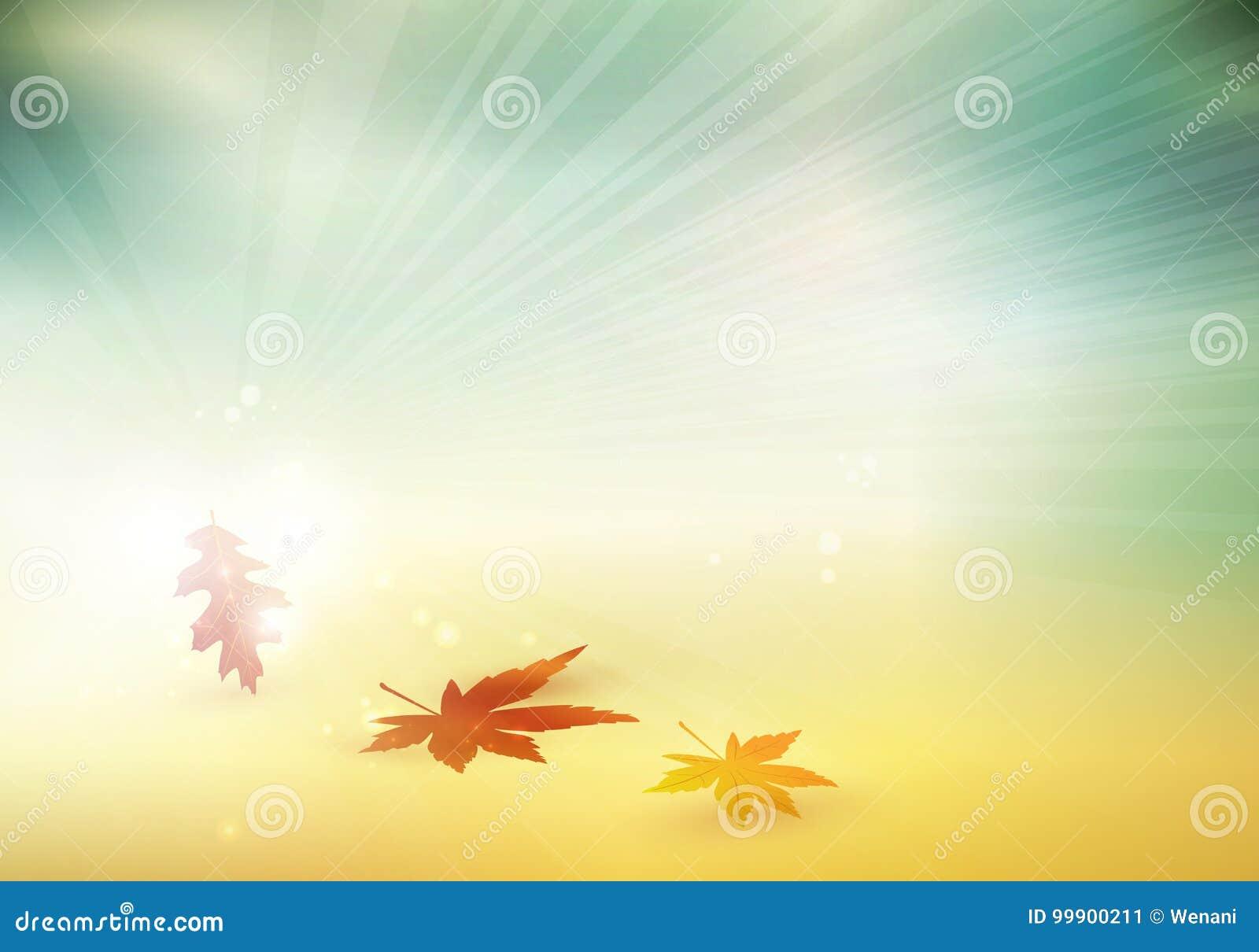 El otoño abstracto, caída deja el fondo borroso