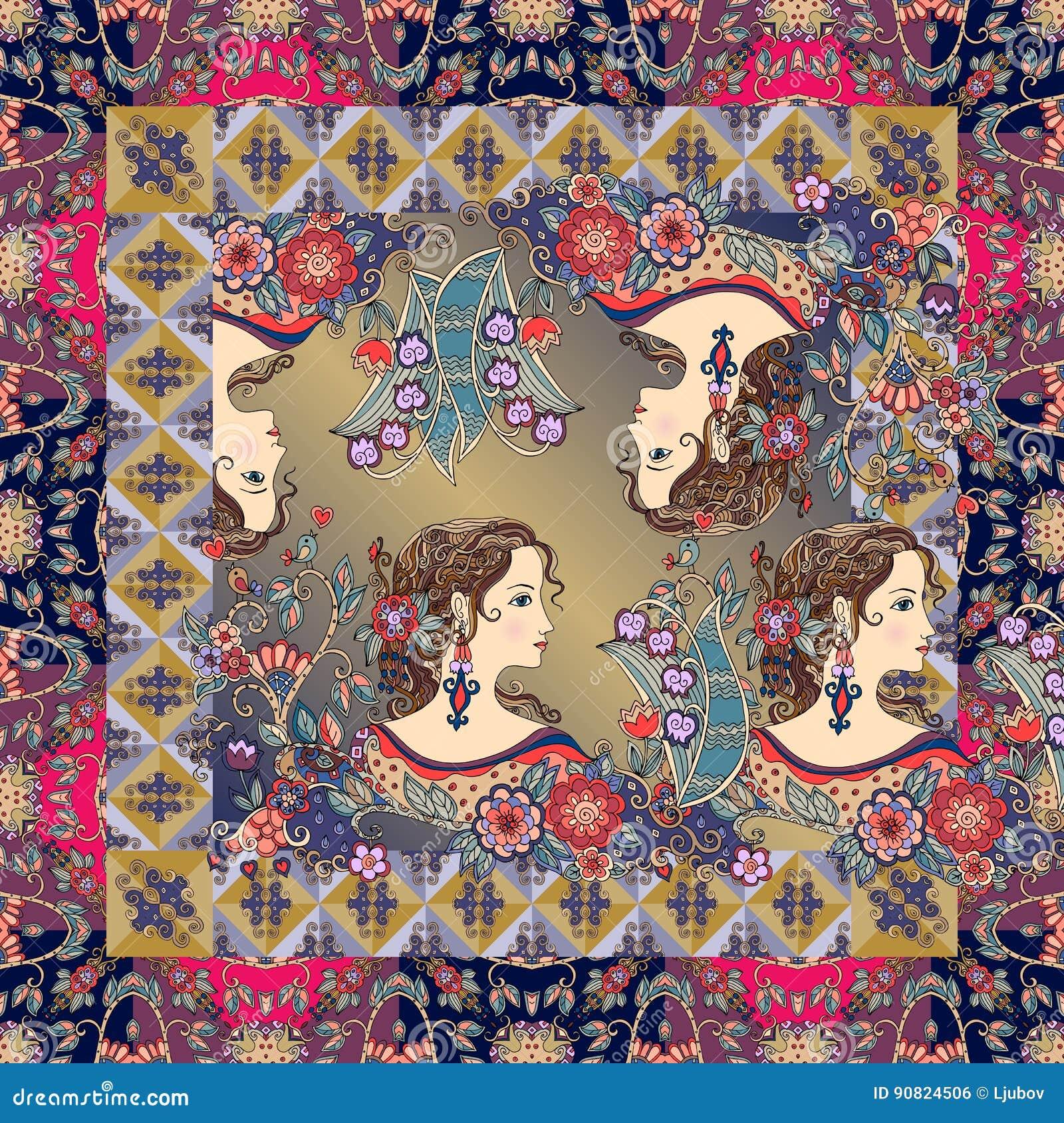 El pañuelo agradable imprime con los retratos hermosos de muchachas con las flores