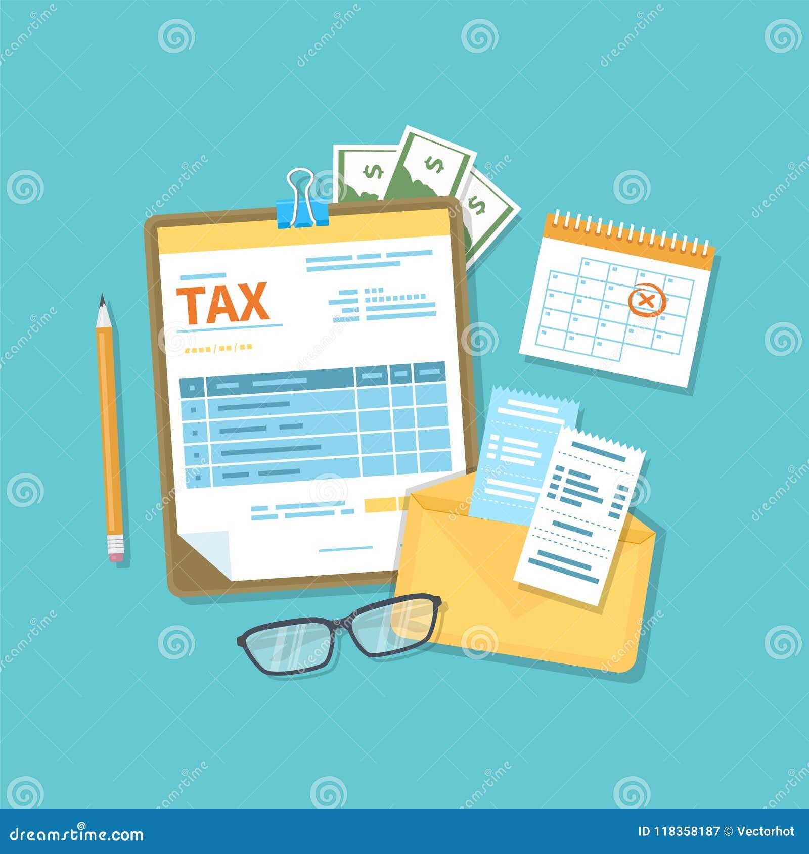 El pago del impuesto, cuentas, carga en cuenta concepto Calendario financiero, forma de impuesto para el tablero, sobre con los c