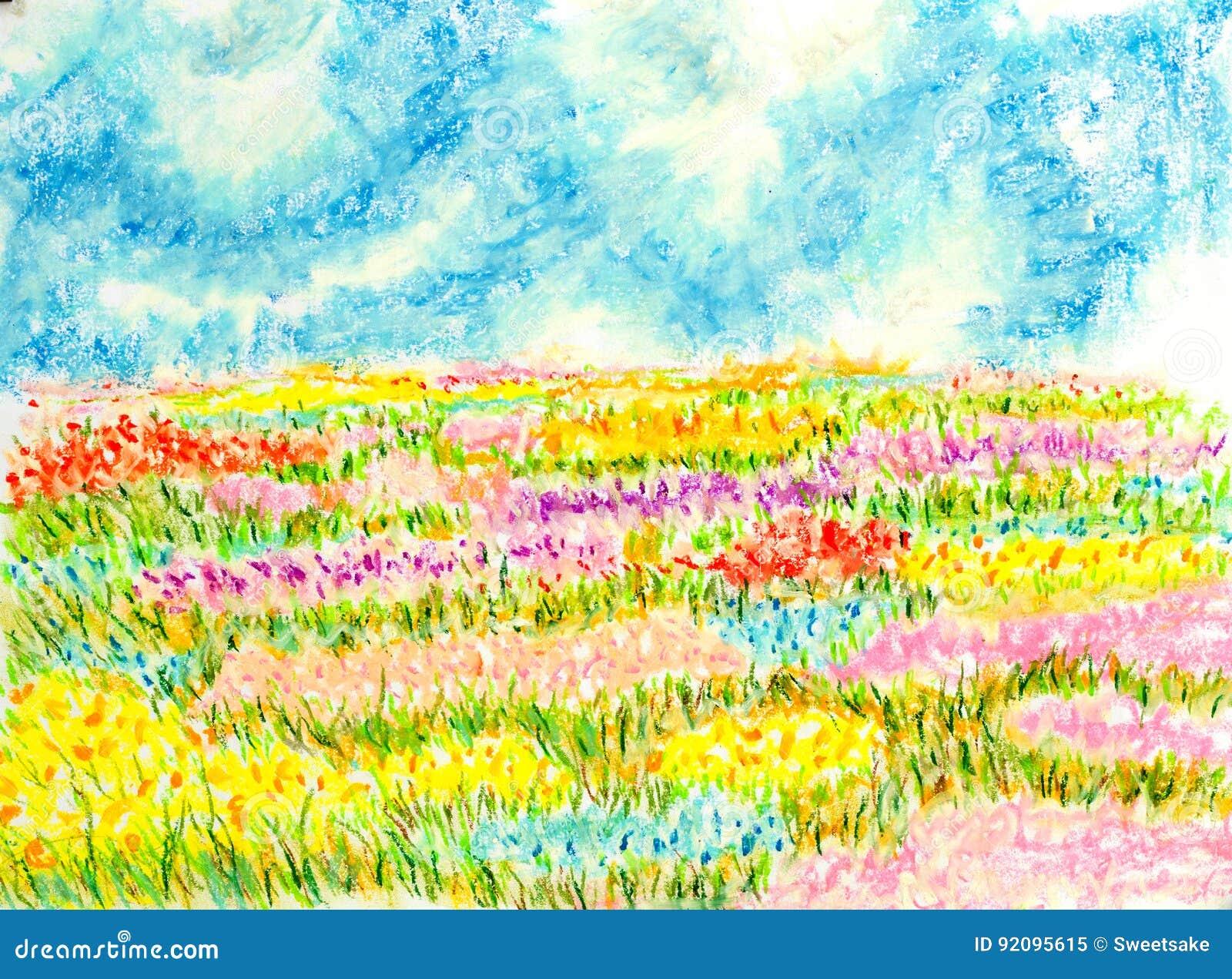 El paisaje del campo de flores engrasa el ejemplo en for Ejemplo de color de pintura de cocina