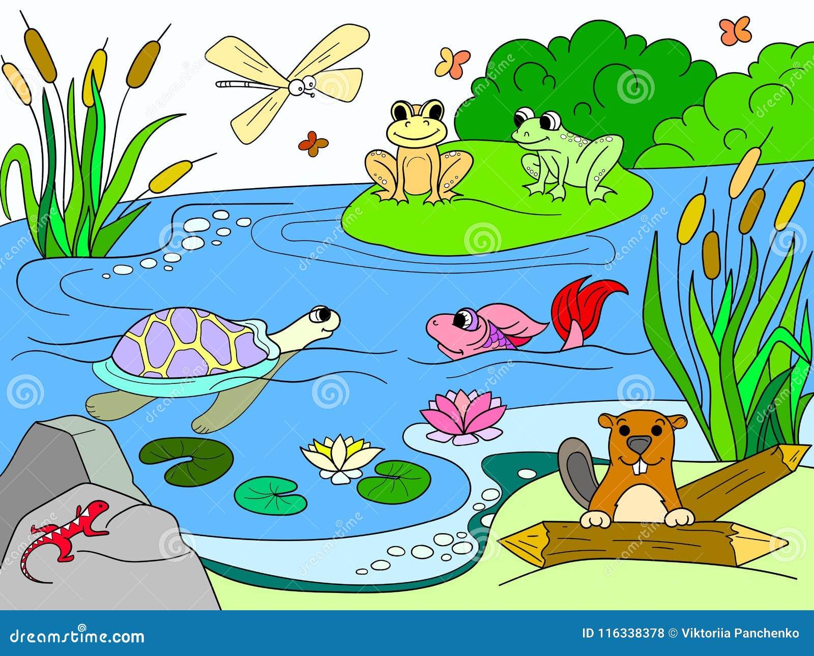 Dibujos Para Colorear Adultos Paisajes: El Paisaje Del Humedal Con Los Animales Colorea El Vector