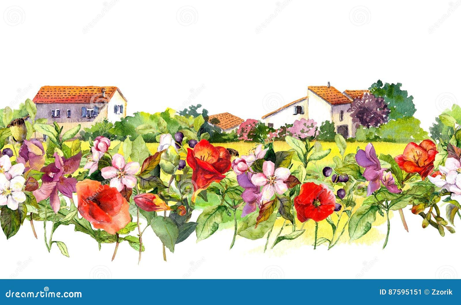 El paisaje del país con el prado florece, se chiba, las hierbas Frontera floral de la acuarela - escena rural idílica de las casa