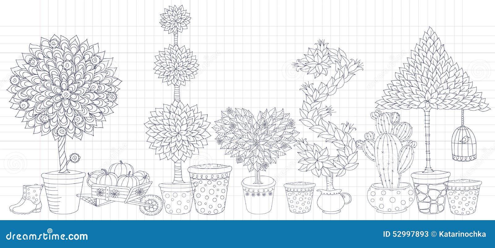 El paisaje del Topiary planta el vector de la colección, sistema con los árboles