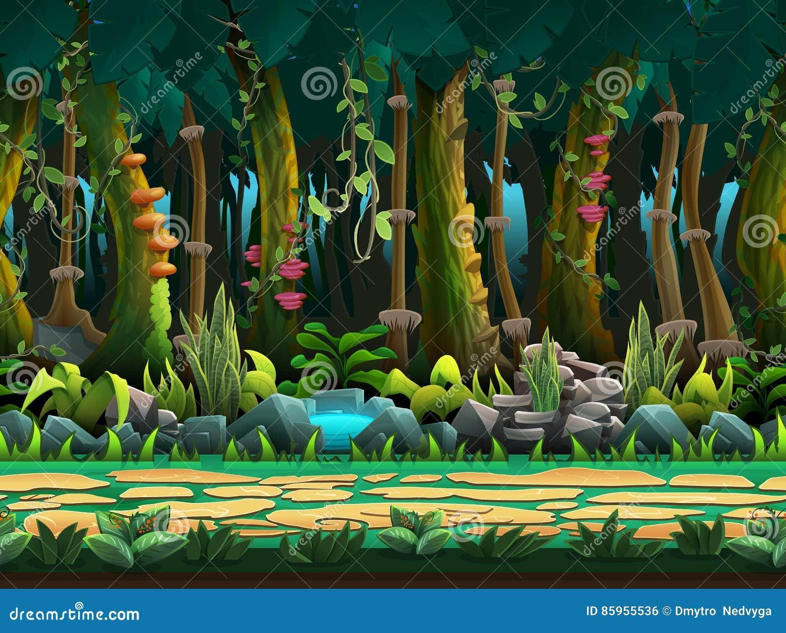 El paisaje inconsútil de la selva de la historieta, vector el fondo interminable con capas separadas