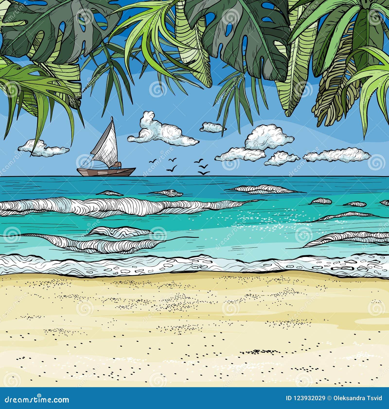 El paisaje tropical del mar con el velero en horizont, las palmeras y la arena varan