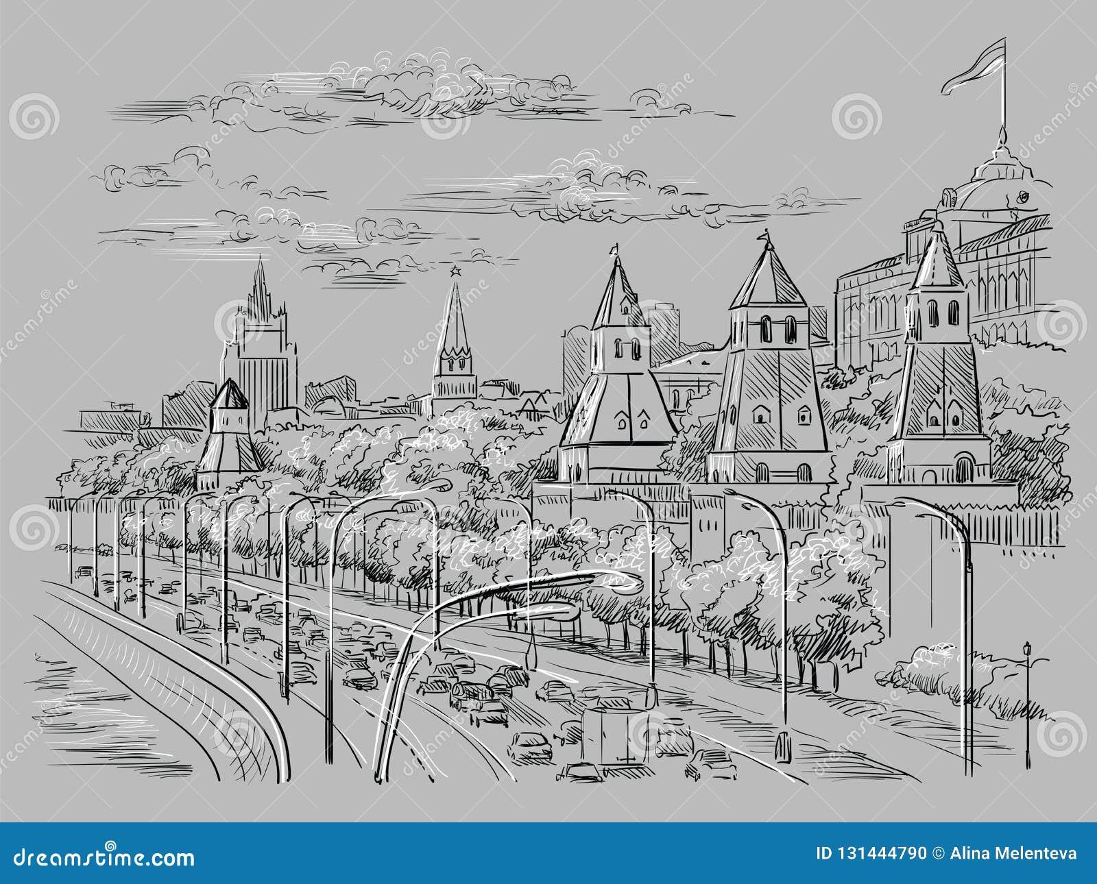El paisaje urbano del terraplén de la Plaza Roja de las torres del Kremlin y del río de Moscú, Moscú, Rusia aisló el ejemplo del
