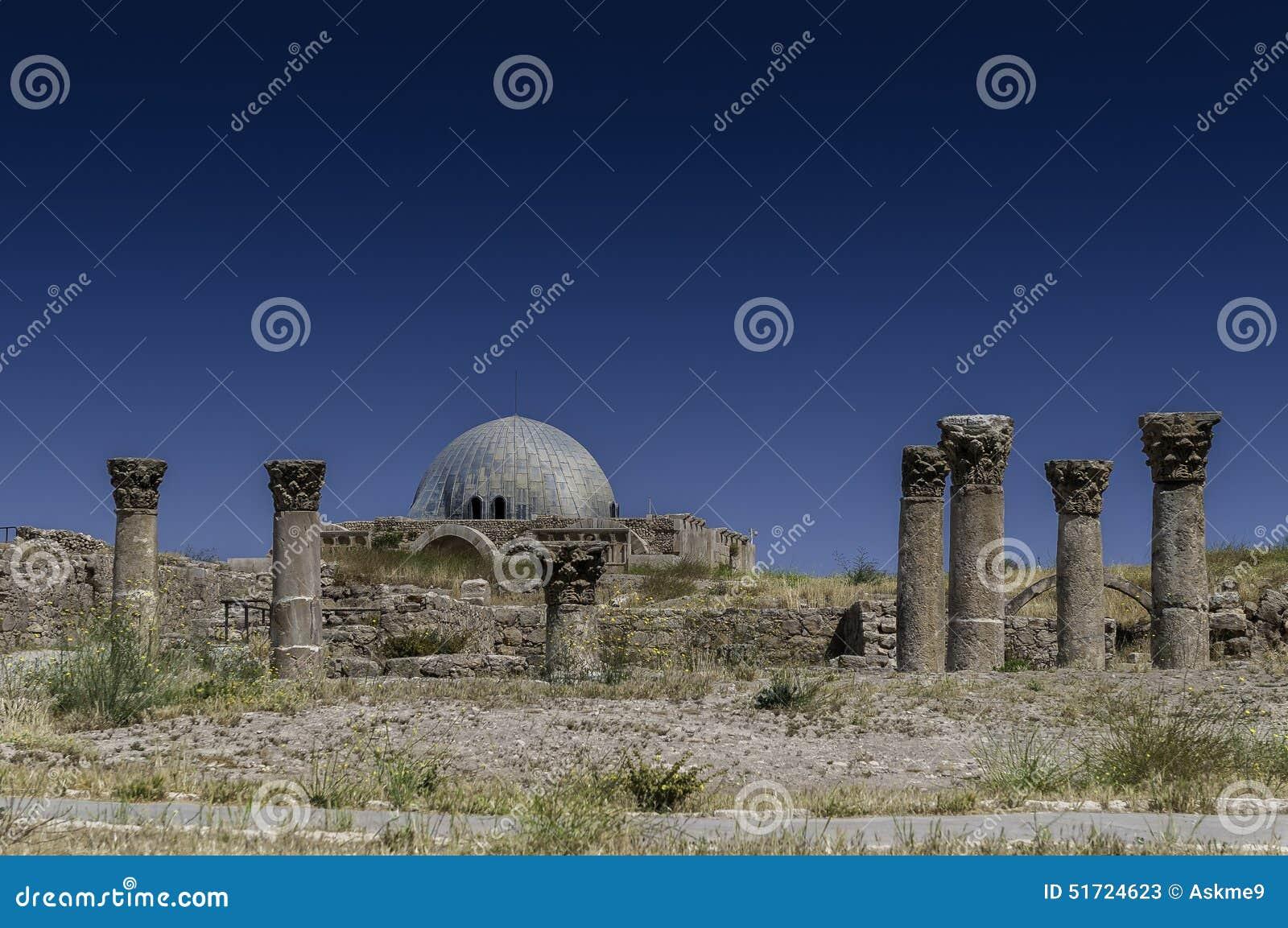 El palacio de Umayyad en Amman, Jordania