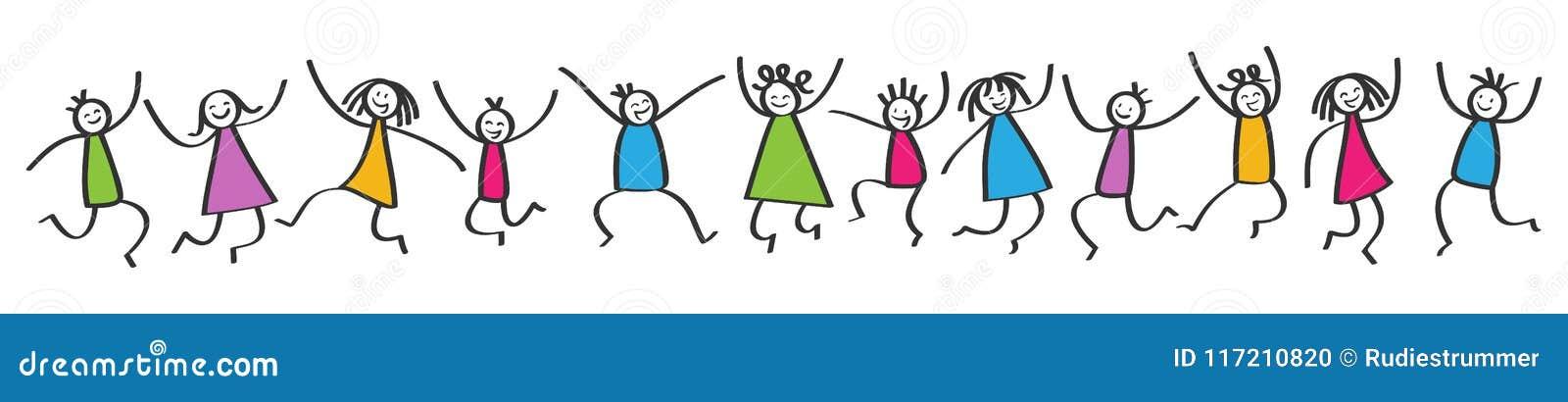 El palillo simple figura la bandera, niños coloridos felices que saltan, manos en el aire