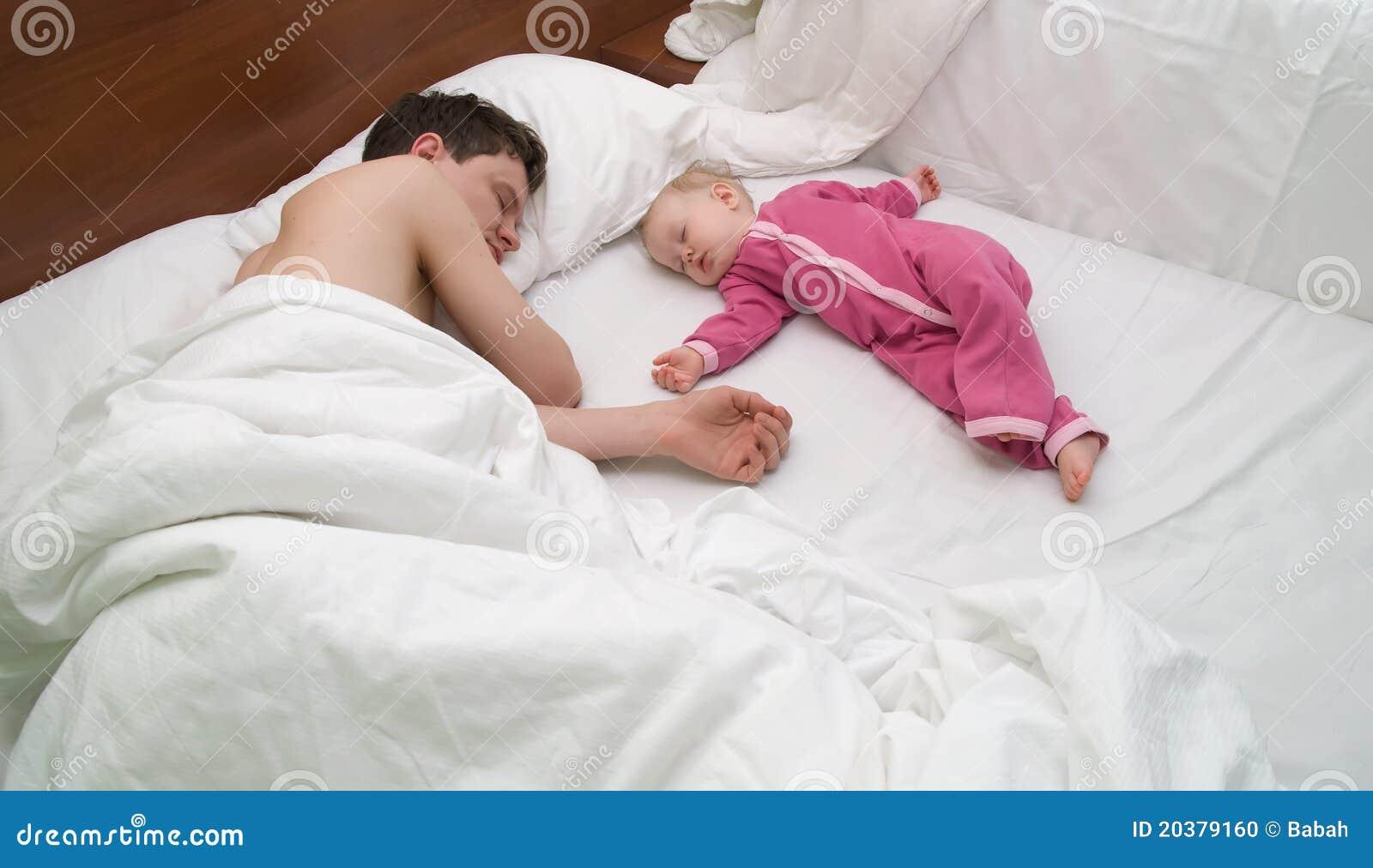 El papá y el niño son sueño