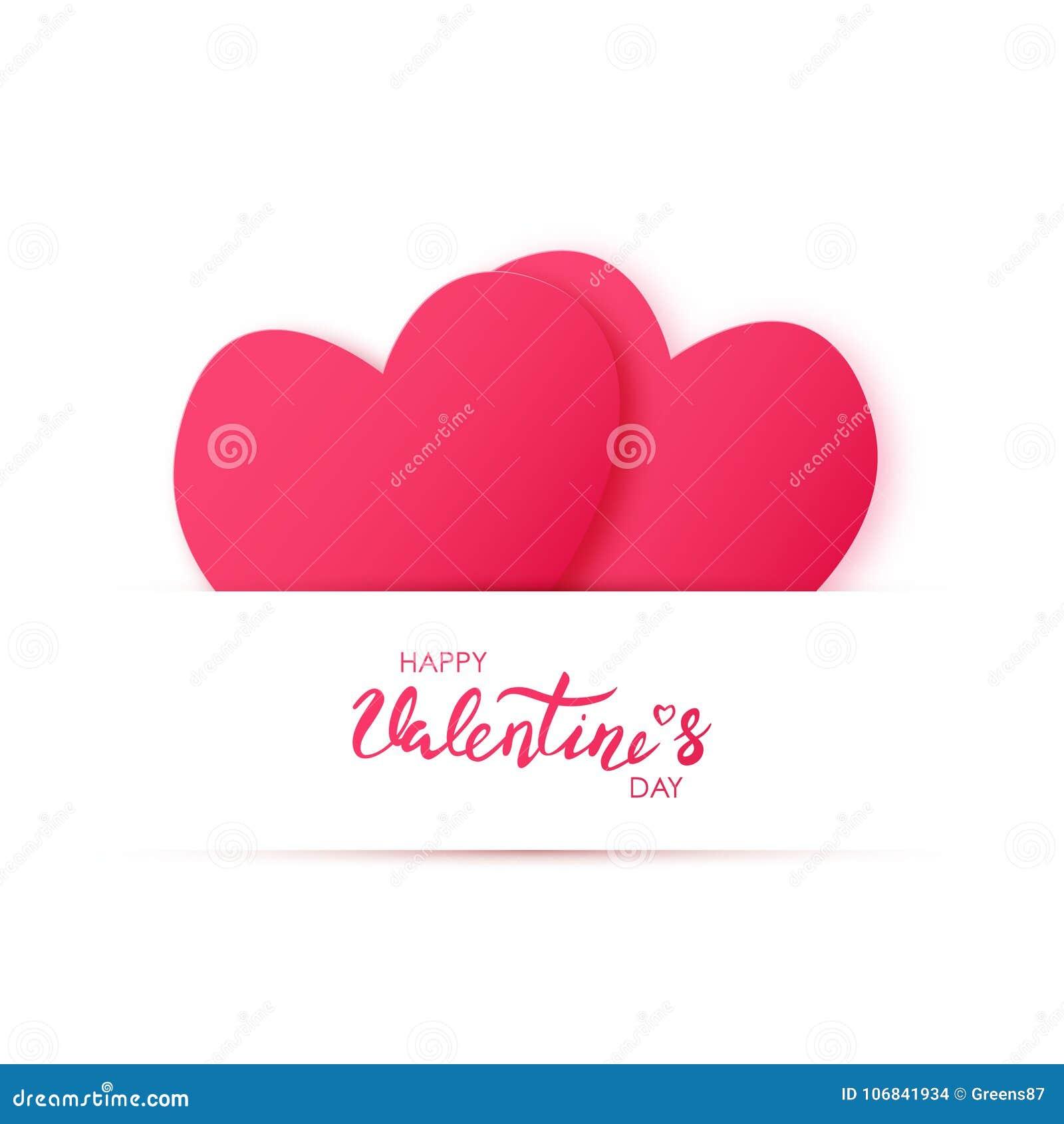 El papel cortó el corazón de dos rojos Día de tarjetas del día de San Valentín feliz