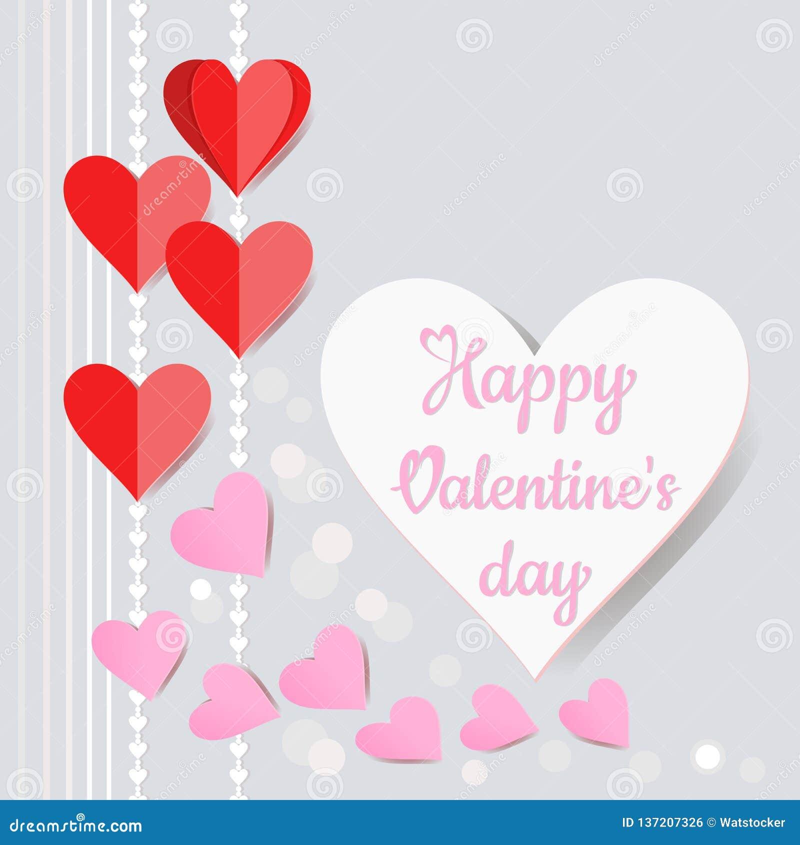 El papel de la forma del corazón cortó el estilo para el vector de la tarjeta del día de tarjeta del día de San Valentín