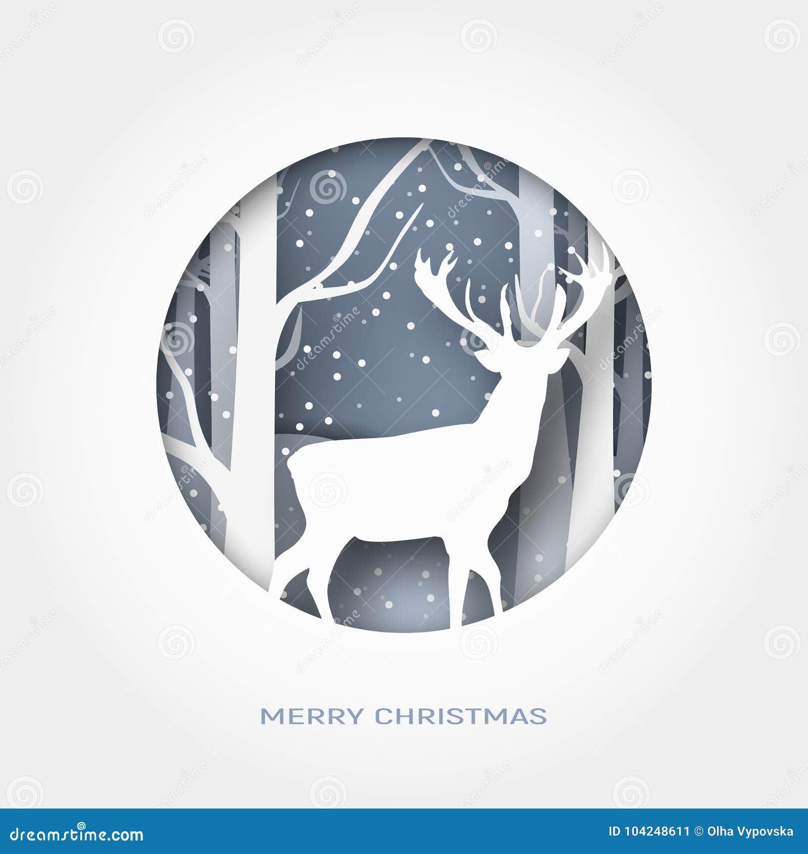 El papel del extracto de la Feliz Navidad 3d cortó el ejemplo de la nieve y los ciervos en el bosque Vector la plantilla