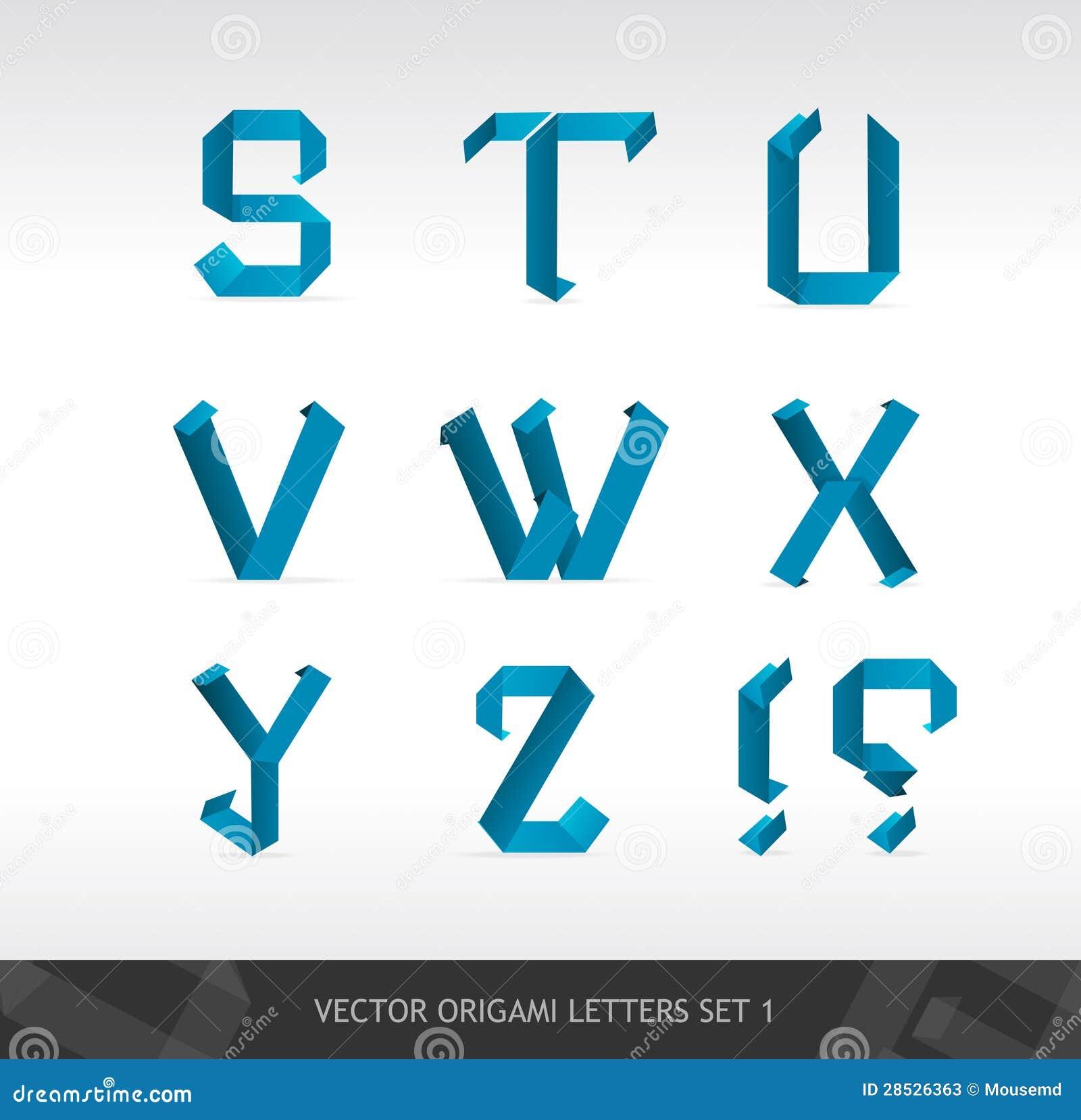 El papel pone letras a origami ilustracin del vector el papel pone letras a origami jeuxipadfo Choice Image
