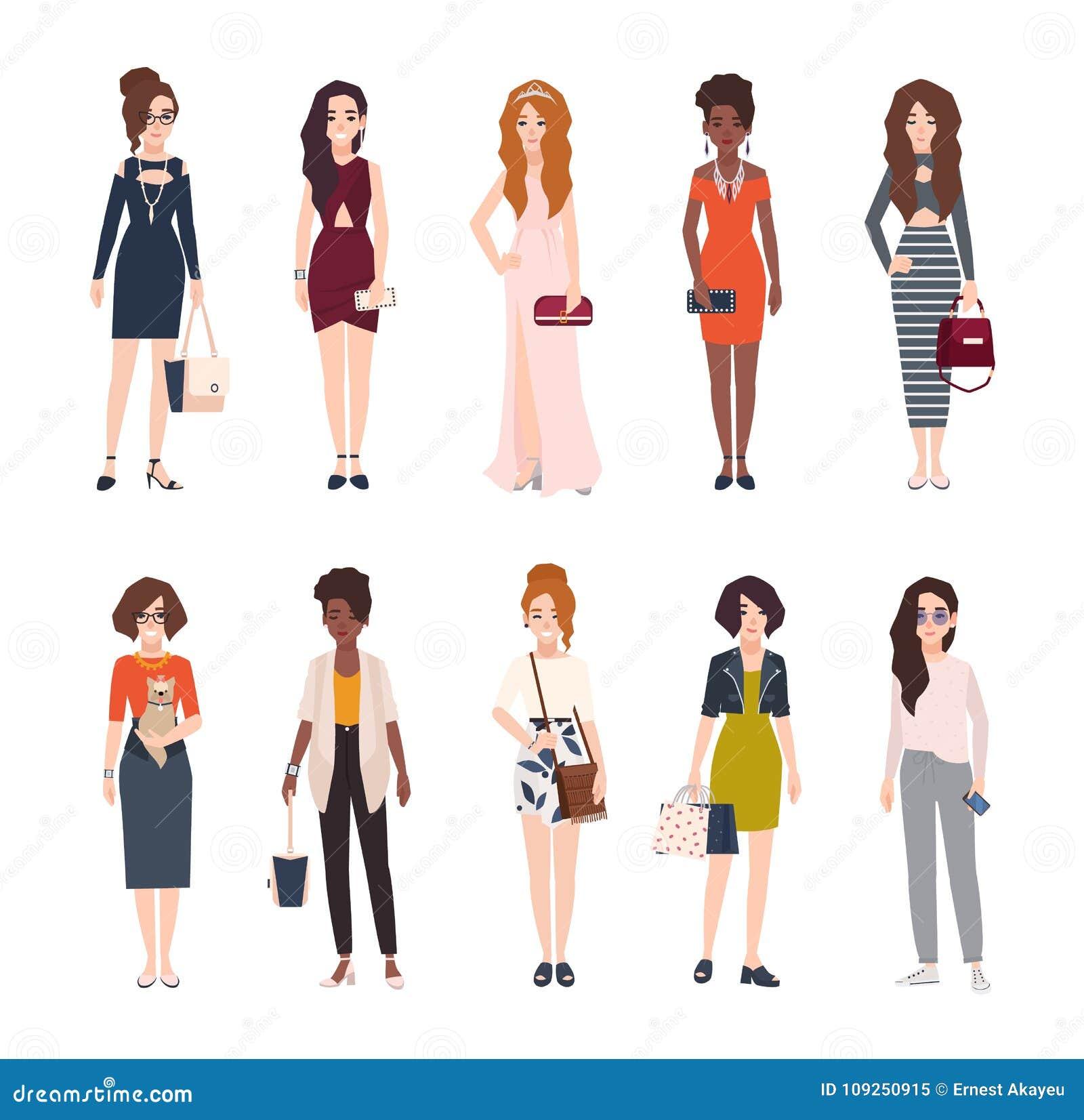 d1a2ca1db3 El paquete de mujeres jovenes hermosas se vistió en ropa de moda Sistema de  muchachas bonitas que llevan la ropa y los accesorios elegantes Personajes  de ...