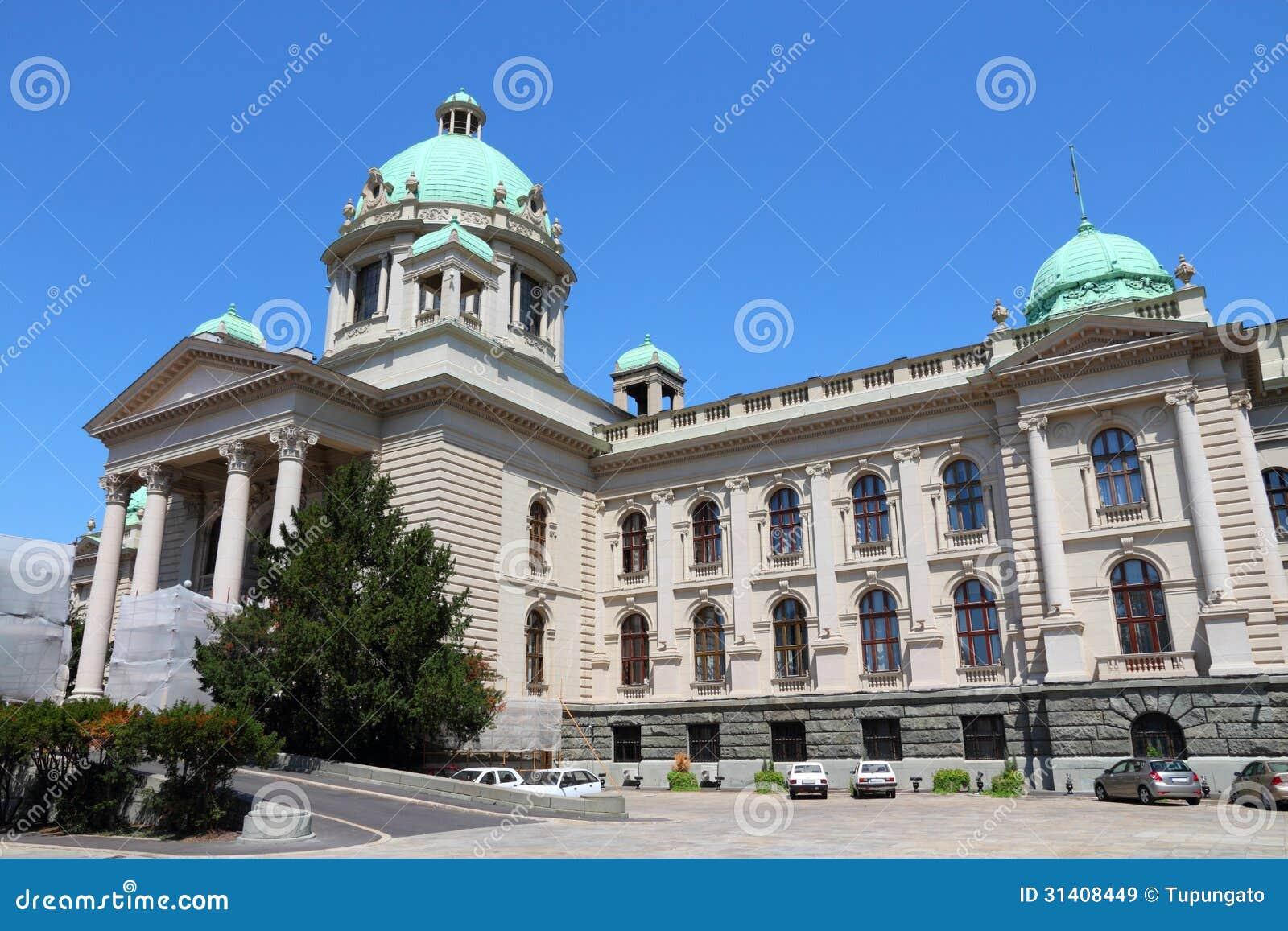 El parlamento de Serbia en Belgrado