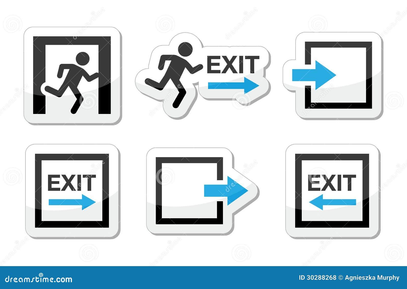 Iconos de la salida de emergencia fijados