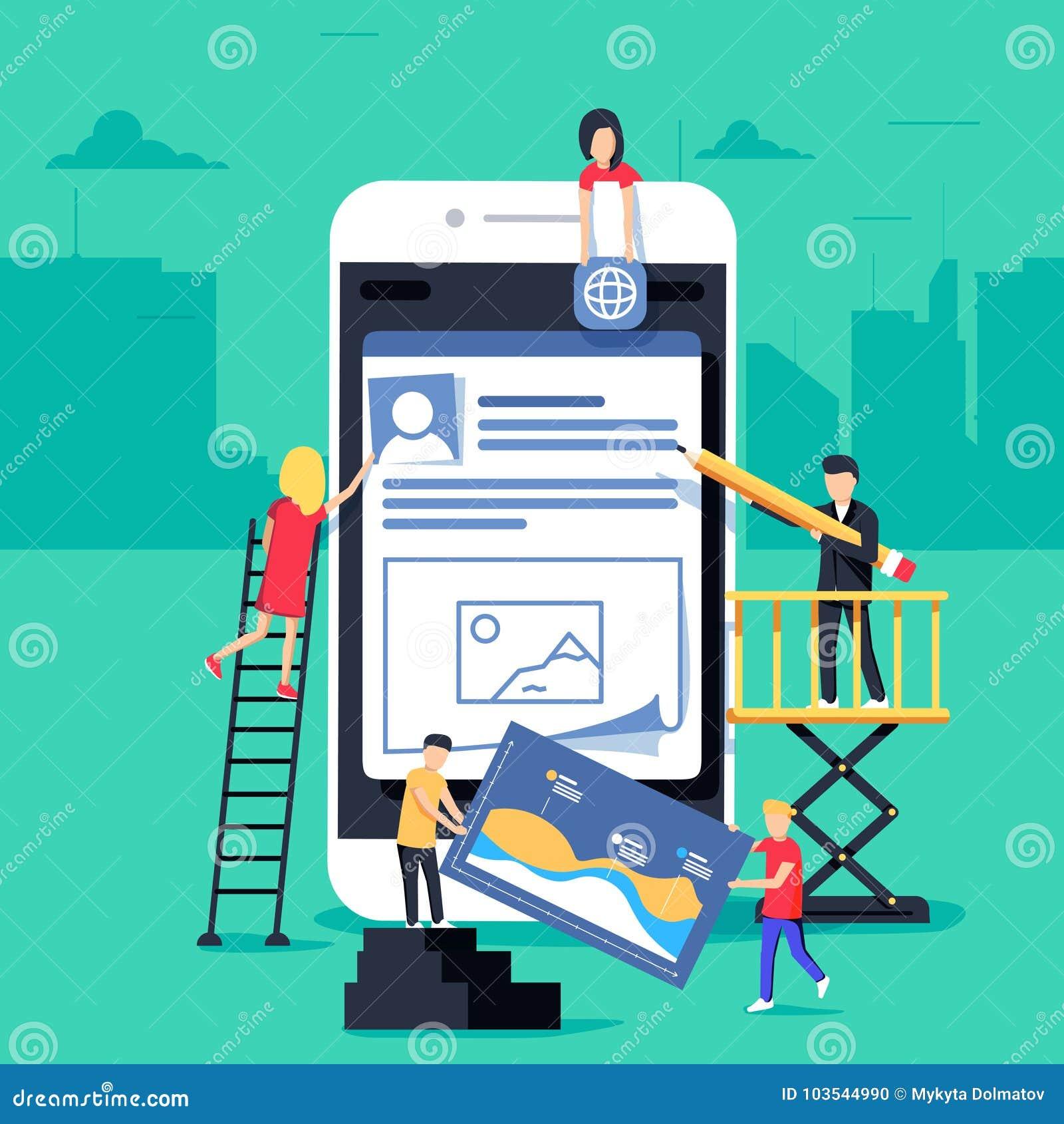 El pequeño carácter de la gente adornó tecnología móvil diseño plano del ejemplo del concepto del vector