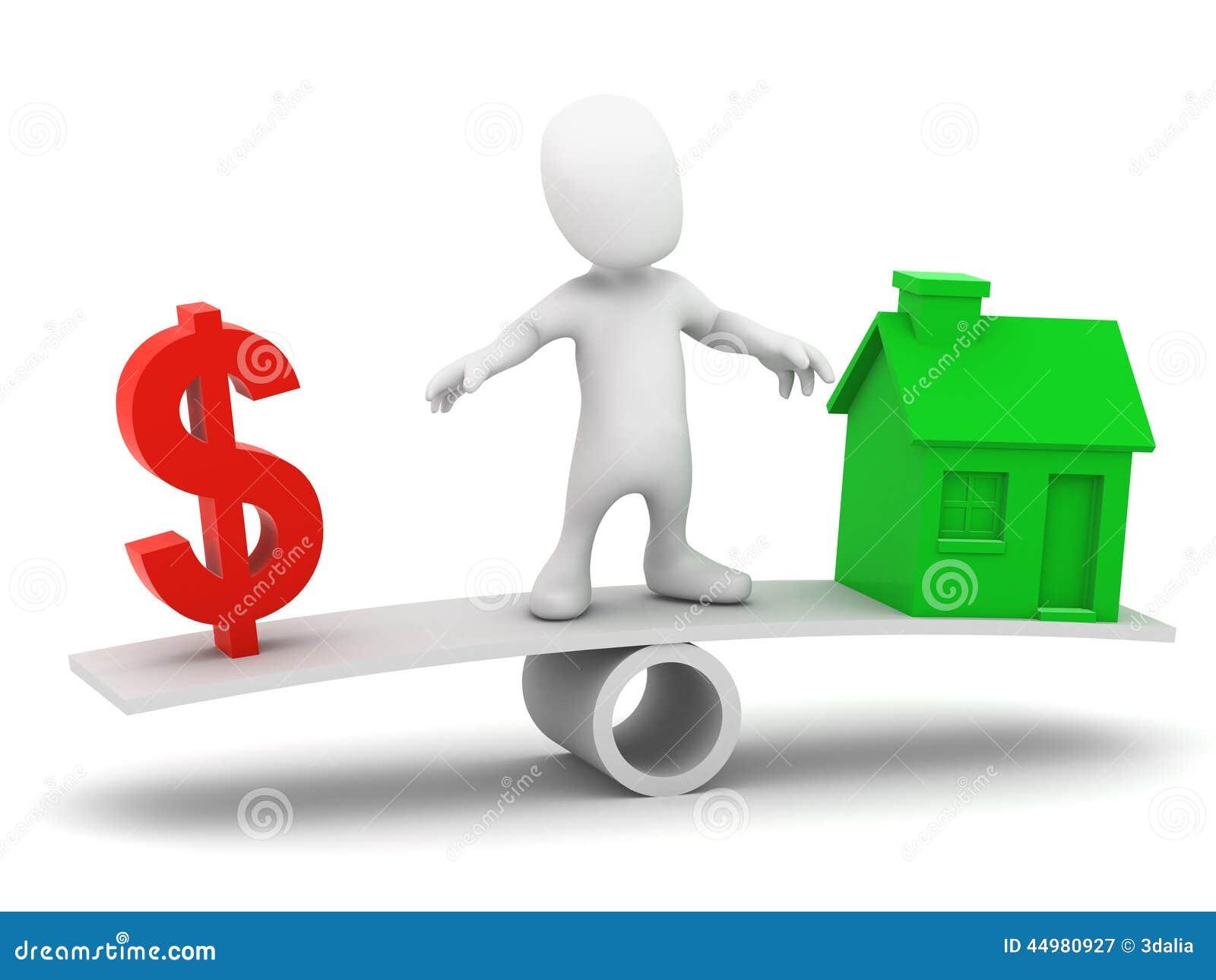 El pequeño hombre 3d equilibra el coste de una casa