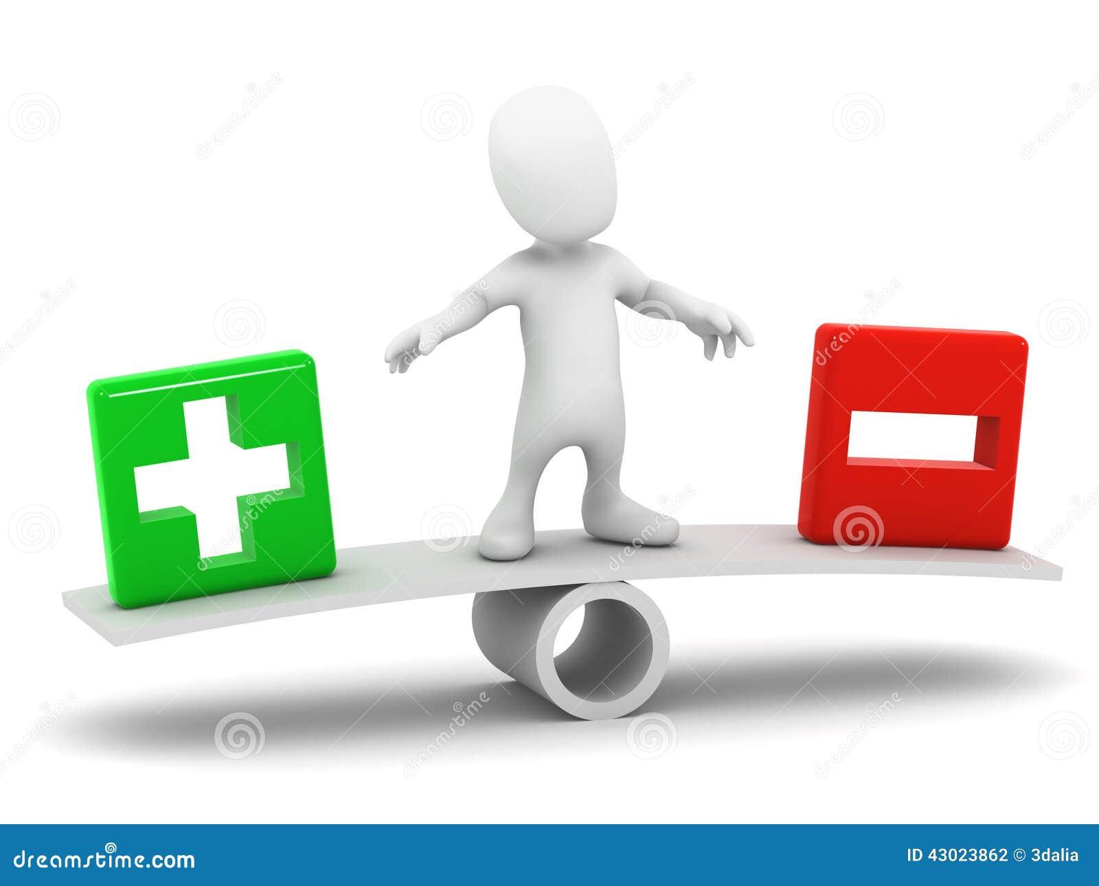 El peque o hombre 3d equilibra el m s y el menos stock de - Mas y mas curriculum ...