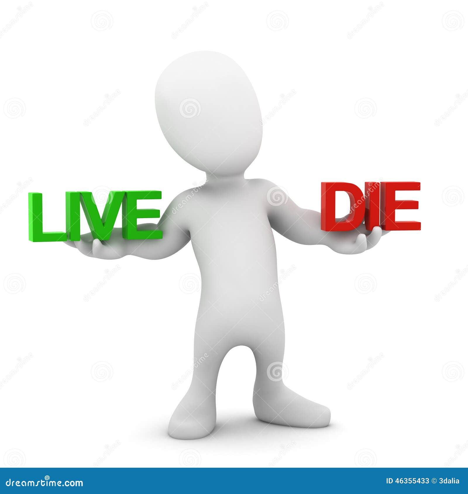 El pequeño hombre 3d equilibra vida y muerte