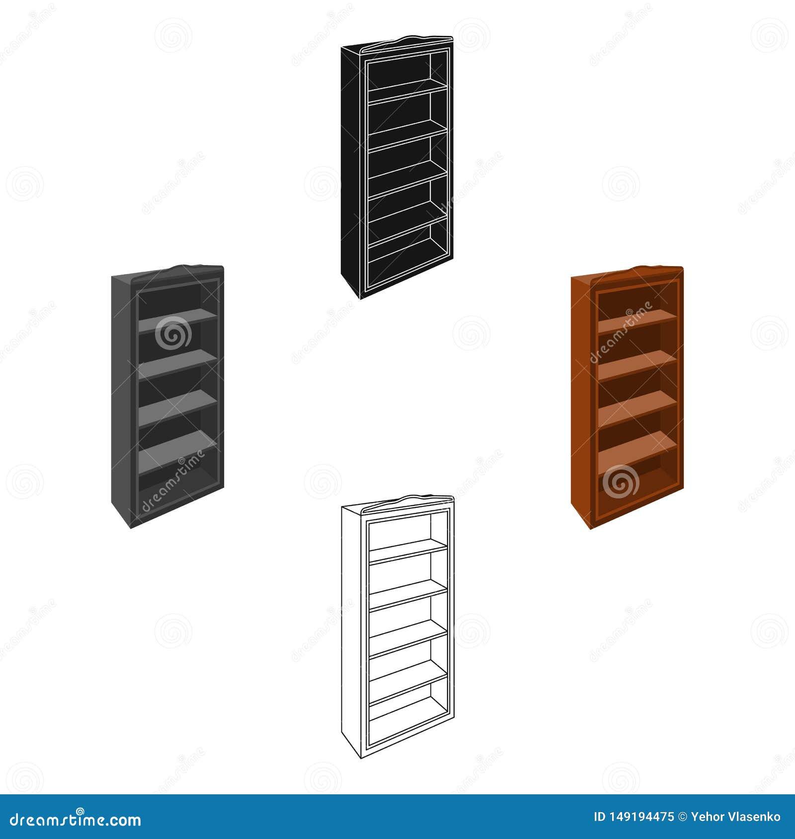 El peque?o estante para libros Biblioteca casera Libros a leer Icono de los muebles del dormitorio solo en la historieta, acci?n