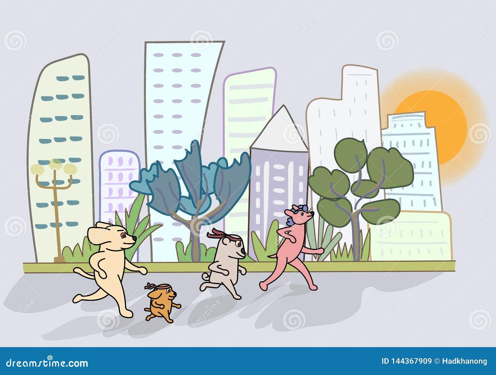 El perro de la historieta corre en el jardín con vistas al alto edificio