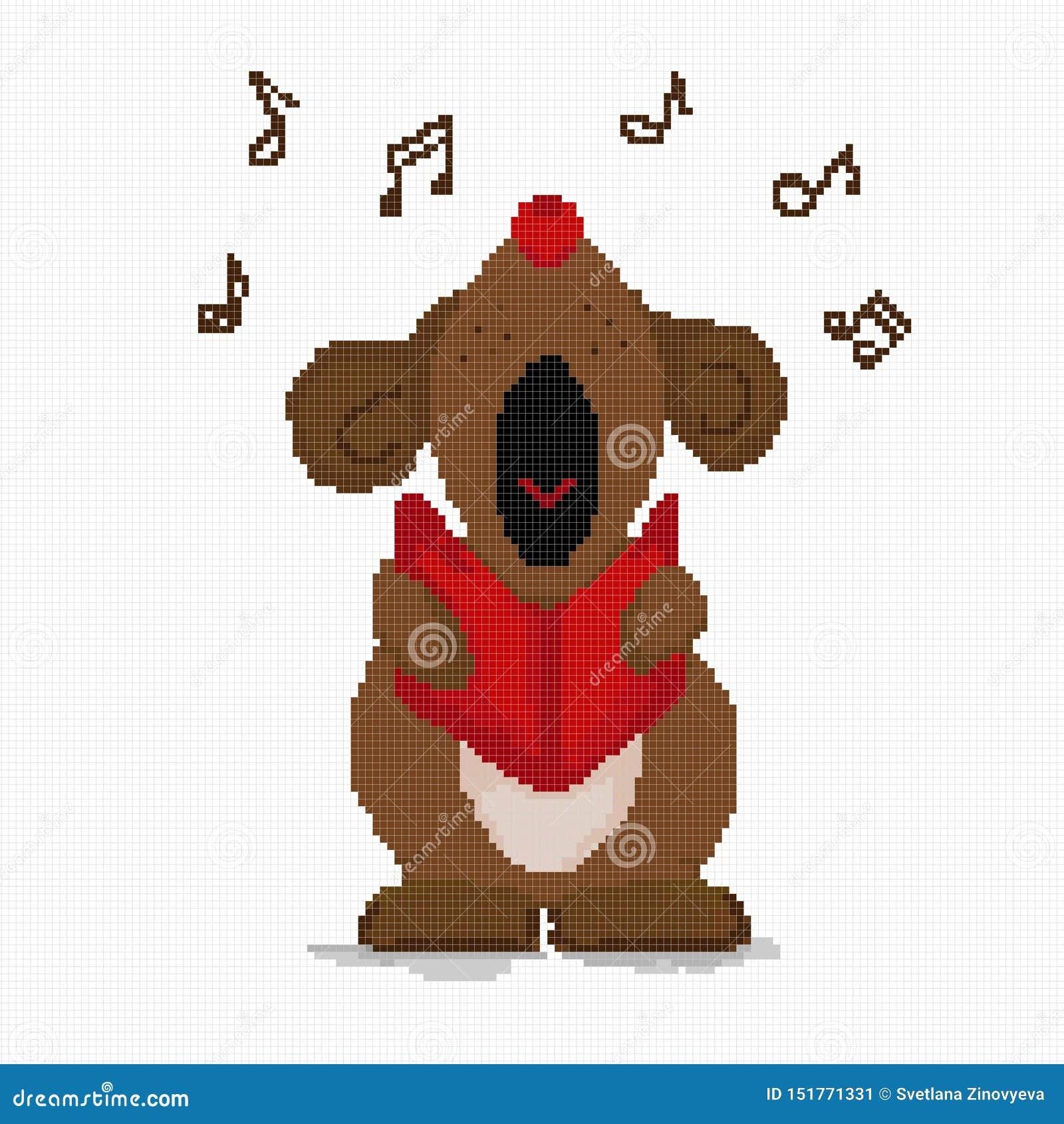 El perro del punto de cruz canta en alta voz un saludo musical c?lula Vector