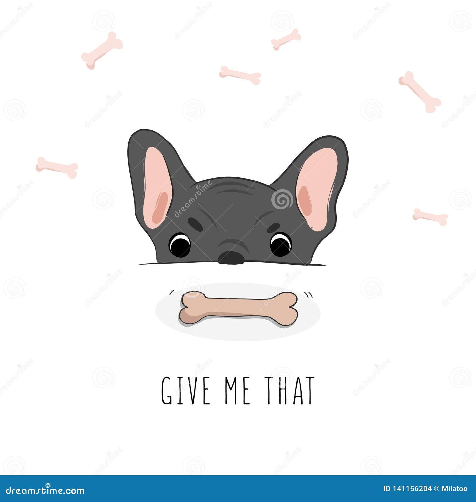 El perro hambriento divertido necesitó un hueso Carácter del animal doméstico de la historieta Ejemplo gráfico del perrito lindo
